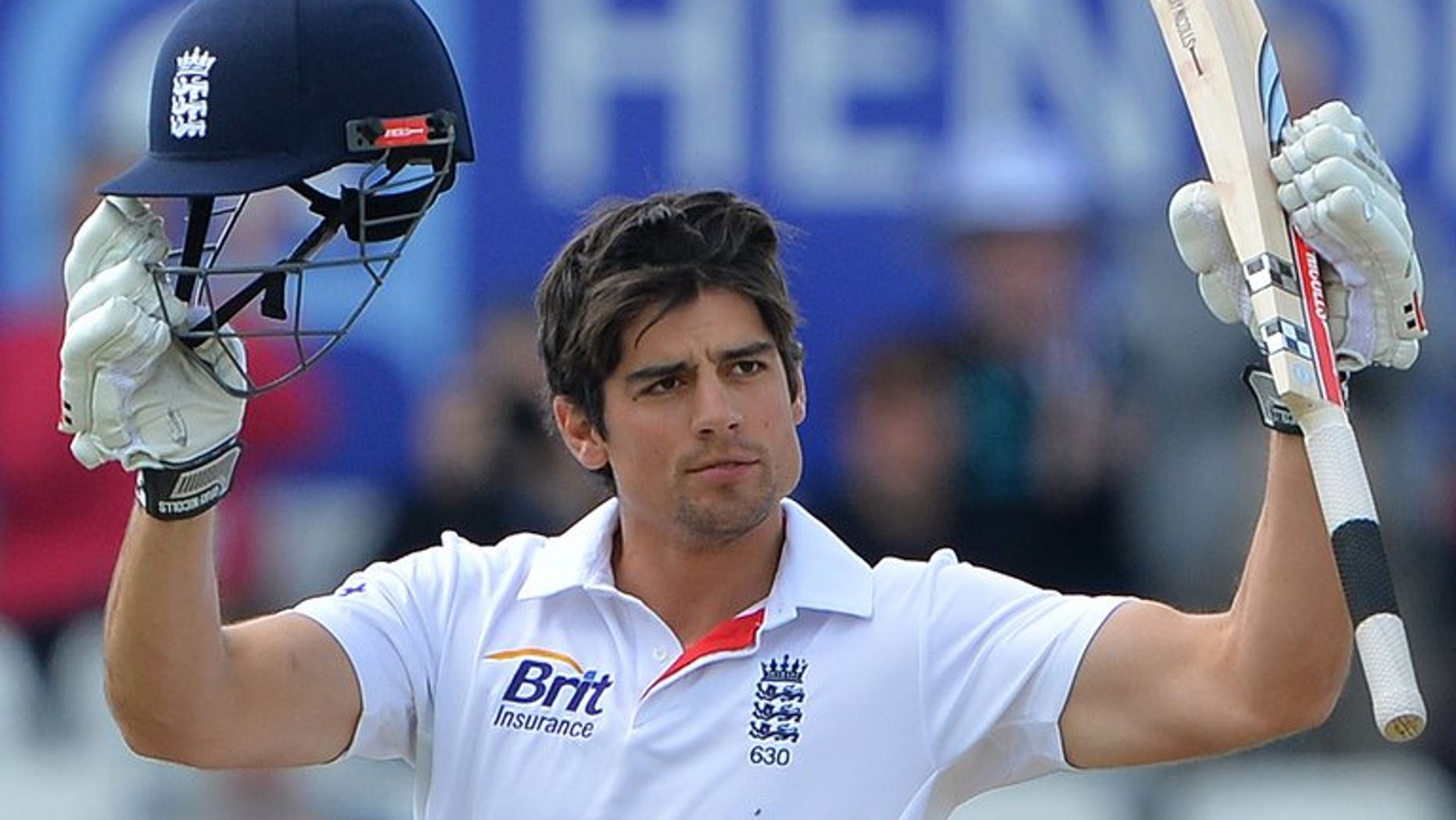 Alastair Cook celebrates a century against New Zealand at Headingly on May 27. The Englan captain won the toss and elected to bat in the first Ashes Test on Wednesday as Australia sprang a major surprise by giving a debut to teenage spinner Ashton Agar.