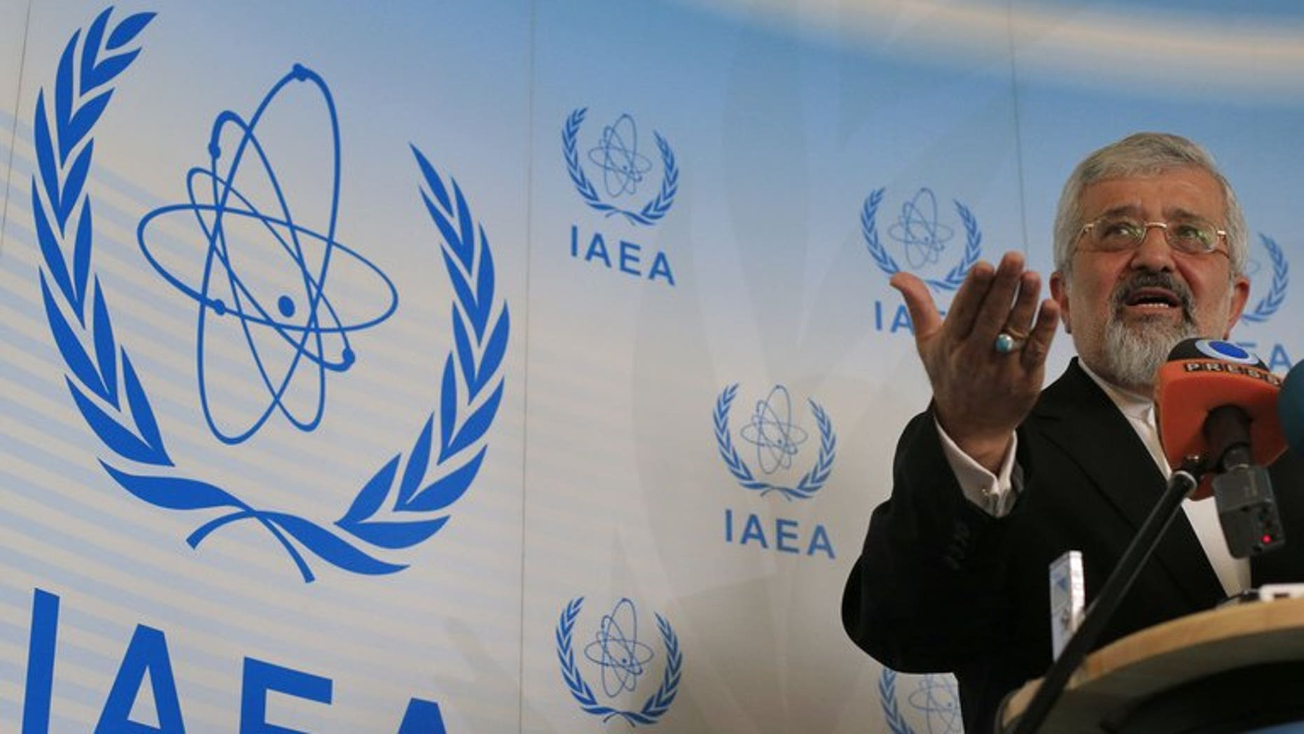 Iran's envoy to the International Atomic Energy Agency (IAEA) Ali Asghar Soltanieh attends a press conference meeting at the UN atomic agency headquarters in Vienna on June 5, 2013. An exiled Iranian opposition group claimed on Thursday to have evidence of a hidden nuclear site located in tunnels beneath a mountain near the town of Damavand, 70 kilometres (44 miles) northeast of Tehran.