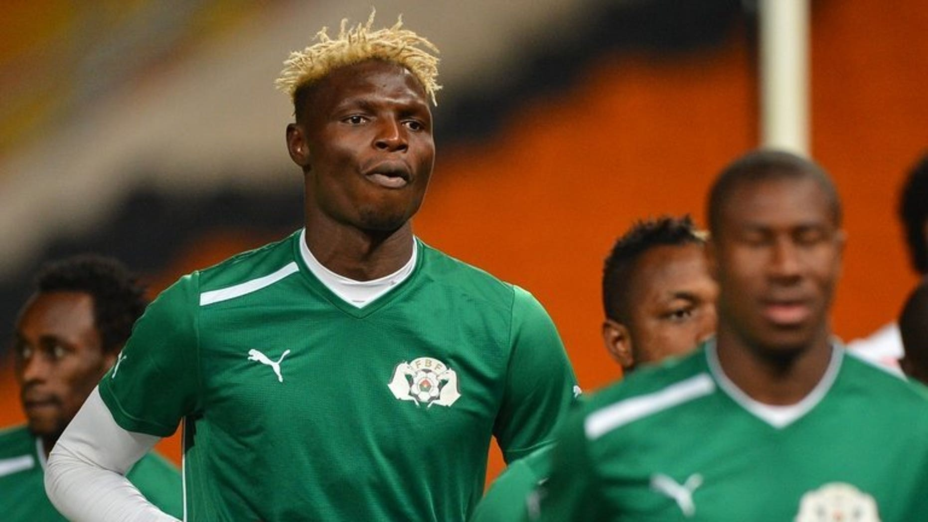 Burkina Faso striker Aristide Bance attends a training session at Soccer City in Soweto on February 9, 2013, on the eve of his side's 2013 Africa Cup of Nations final against Nigeria. Bance faces a race against time to be fit for the start of the new Bundesliga season with Augsburg next month after breaking his left arm in a friendly.