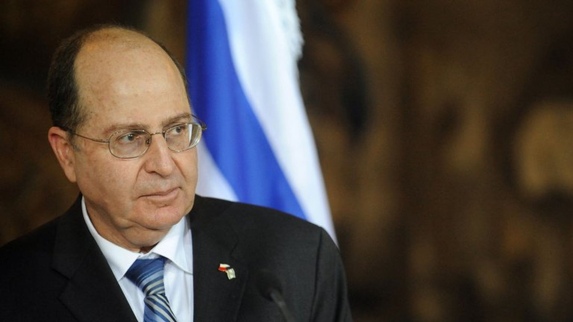 """Israel's Defence Minister Moshe Yaalon delivers a speech on November 24, 2011. Israel's military is set to change to increase its """"technological advantage"""" over other regional armies, Yaalon said on Thursday, while cutting away at costly traditional field forces."""