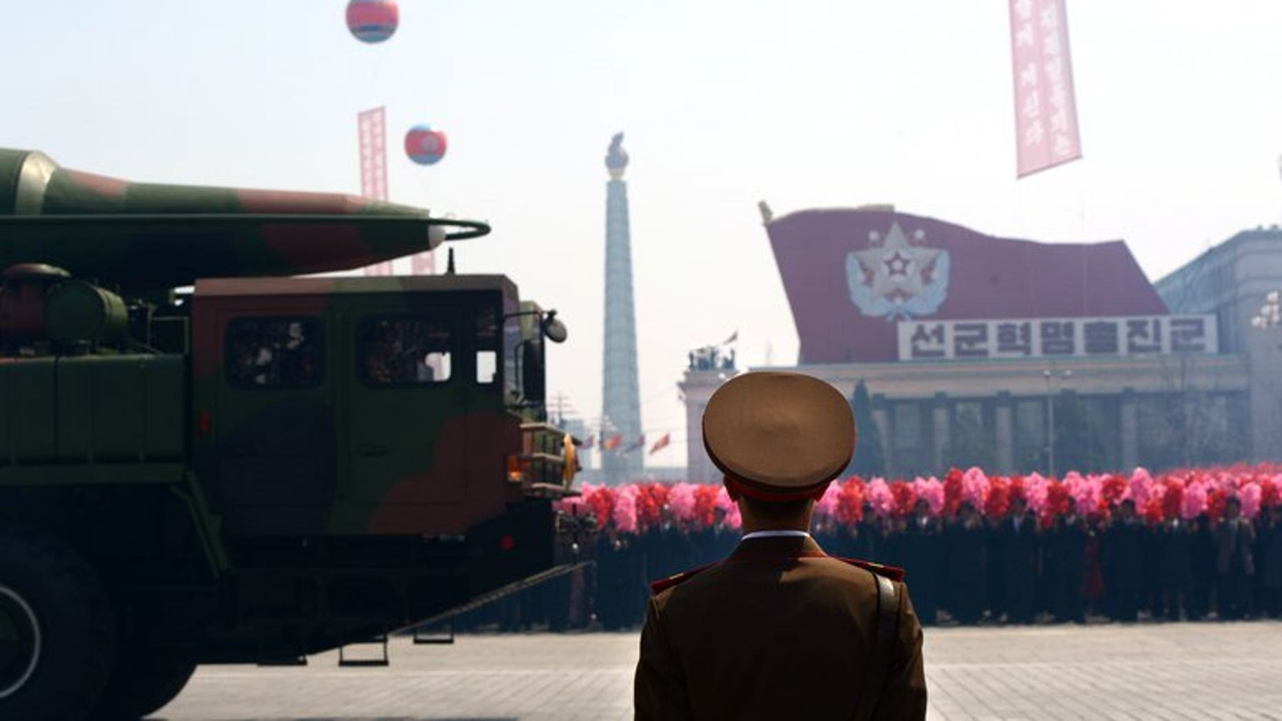 A Taepodong class missile is displayed during a military parade in Pyongyang on April 15, 2012. North Korea has mobilised a variety of missiles in preparation for a massive military parade later this month to mark the 60th anniversary since the end of the Korean War, a report said Friday.