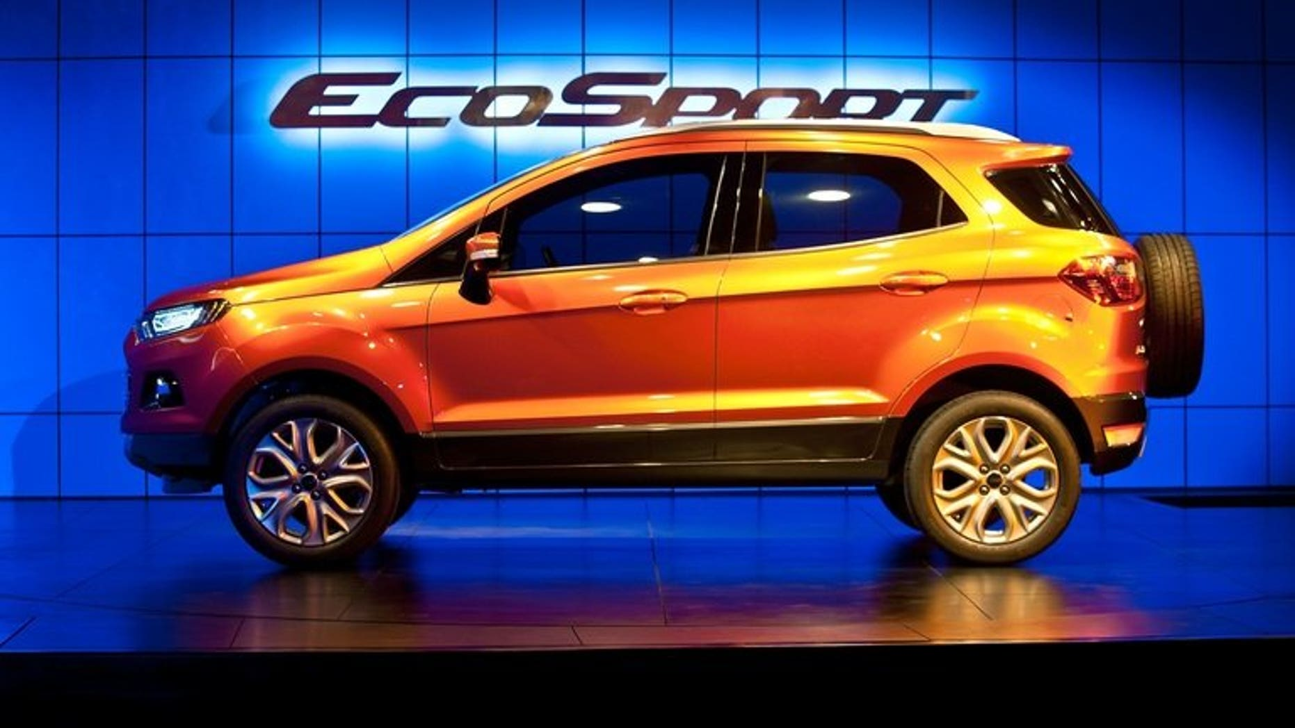 Ford EcoSport car is displayed during the unveiling event in New Delhi, on January 4, 2012. Ford India announced on Friday it was recalling the diesel versions of its EcoSport SUV to fix an engine starting problem.