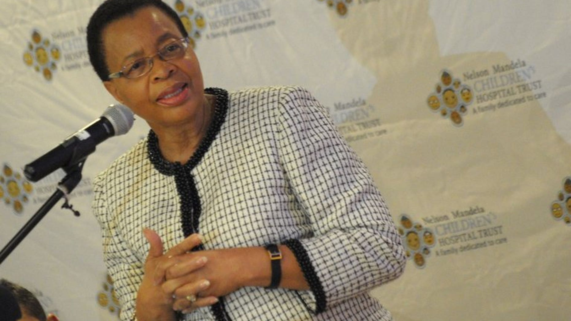 Graca Machel, the wife of ailing former South African president Nelson Mandela, gives a press conference in Johannesburg on July 4, 2013. Machel said Friday she is now less anxious about his condition, five weeks into his hospitalisation.