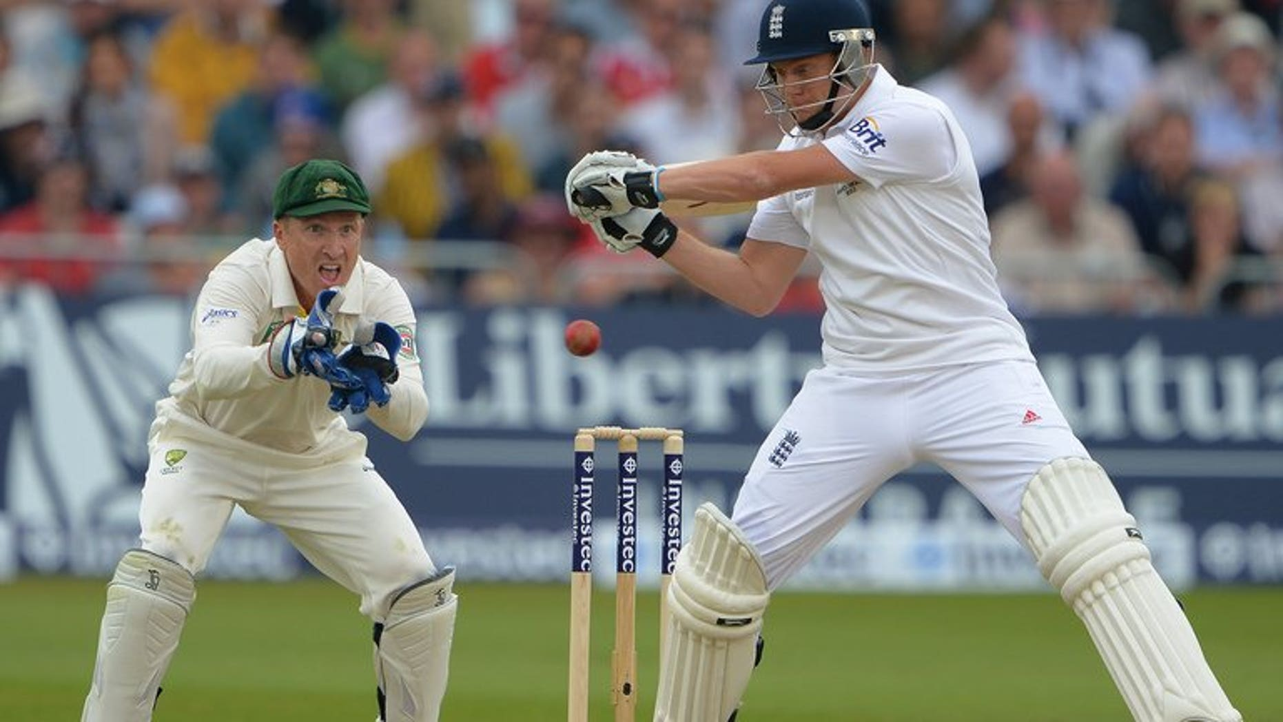 Jonny Bairstow (rights) bats in England's first innings against Australia at Trent Bridge on Wednesday. England were 157 for four in their second innings -- a lead of 92 runs -- at lunch on the third day of the first Ashes Test against Australia at Nottingham's Trent Bridge ground on Friday.