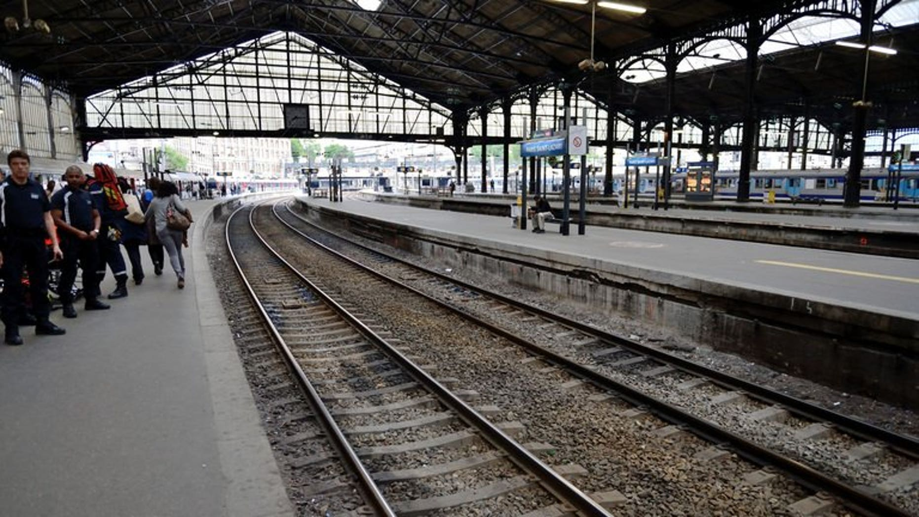 """A view of empty tracks at the Saint Lazare train station in Paris on June 13, 2013. A train derailed in the Paris suburb of Bretigny-sur-Orge in an accident that authorities fear may have caused """"many casualties"""", officials said."""