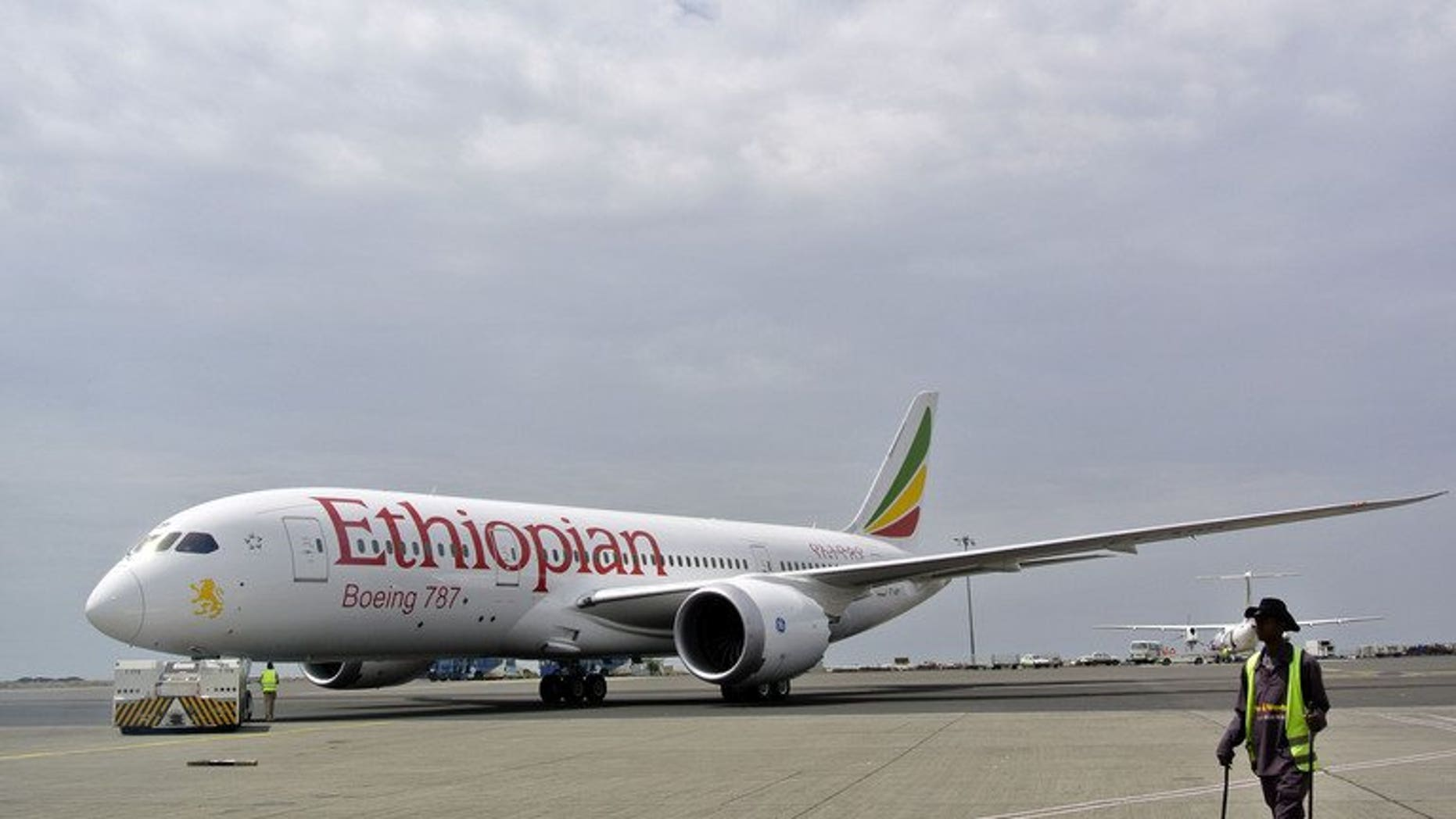 An Ethiopian Airlines Dreamliner jet is pictured on April 27, 2013. London's Heathrow airport suspended both of its runways after another parked Ethiopian Airlines Boeing 787 Dreamliner caught fire, but no casualties were reported.