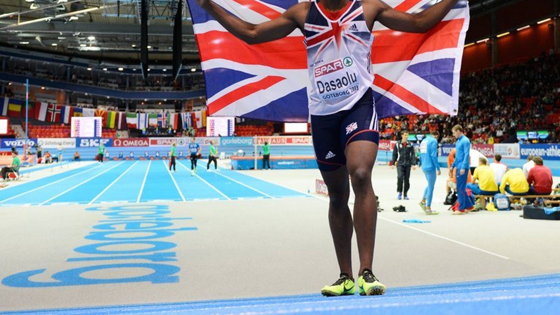 Great Britain's James Dasaolu is pictured at the European Indoor athletics Championships in Gothenburg, Sweden, on March 2, 2013. Dasaolu produced a blistering sprint of 9.91 seconds to become the second fastest Briton of all time in the 100 metres semi-finals at the British Championships