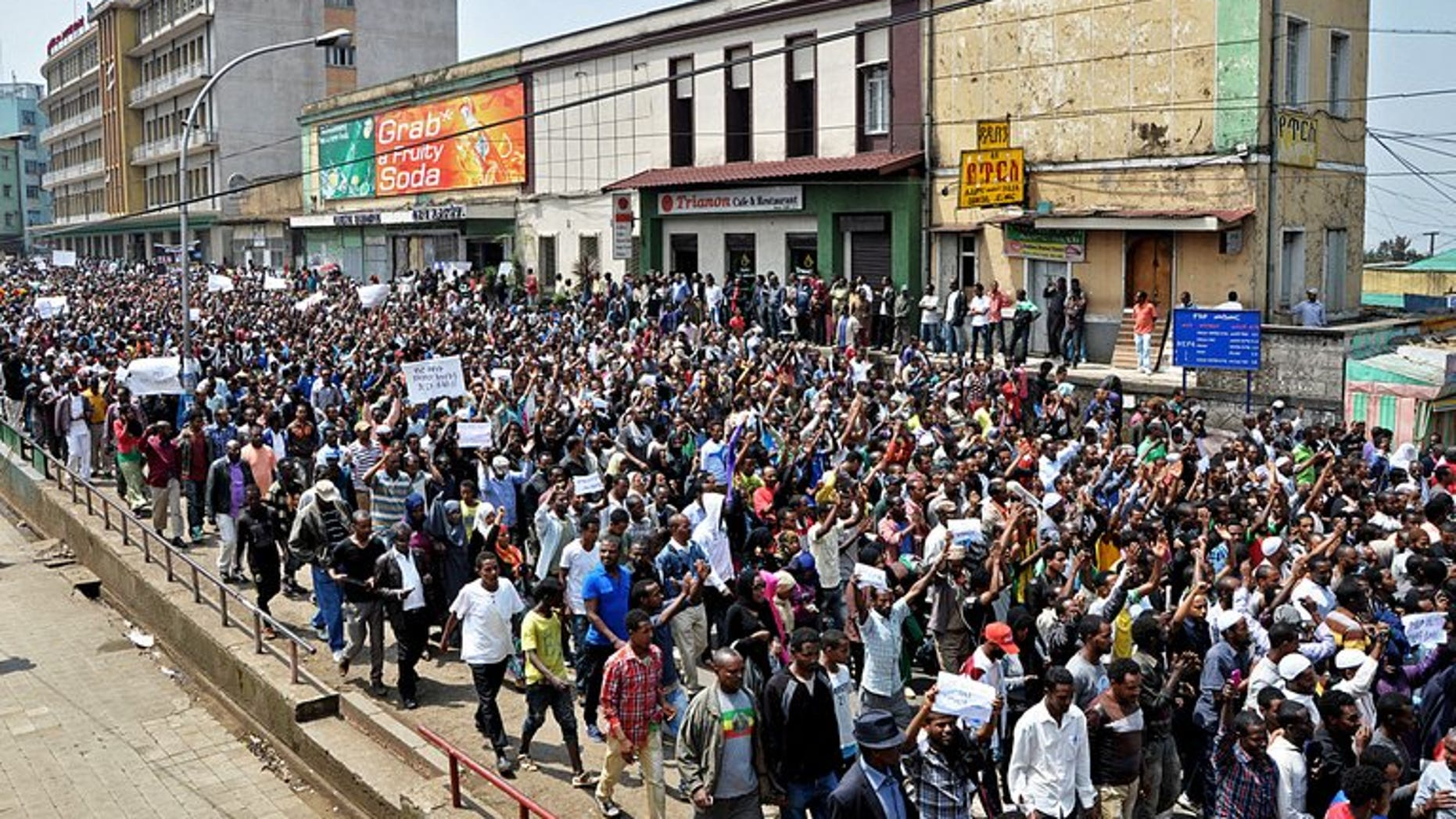 Thousands of Ethiopian opposition activists demonstrate in Addis Ababa on June 2, 2013. Activists said Saturday they will hold rare demonstrations in two northern towns calling for government reform in the tightly controlled country.