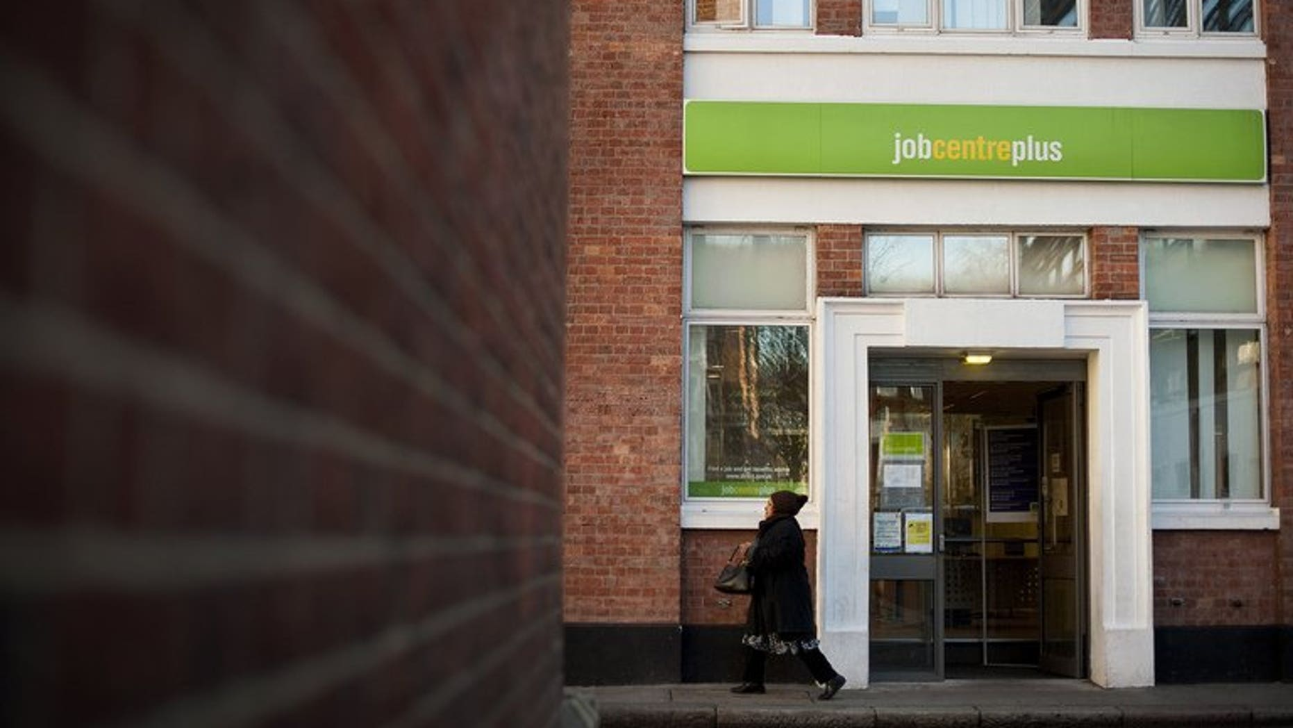 A job centre is pictured in central London, on February 15, 2012.