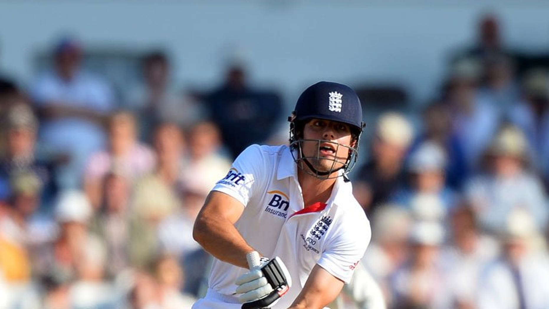 England's Alastair Cook plays a shot during the 2013 Ashes series between England and Australia in Nottingham on July 11, 2013. England on named an unchanged squad to face Australia in the second Ashes Test, starting at Lord's later this week.