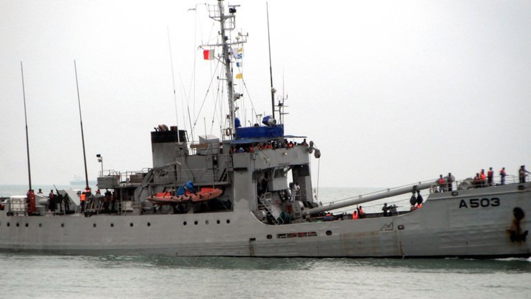 A Nigerian navy ship, one of three taking part in a joint counter-piracy patrol by the Nigerian and Benin navies, patrols the sea off the coast of Benin's capital Cotonou on September 28, 2011. The number of attacks by pirates worldwide has fallen in the last year but armed robbery and kidnappings at sea have surged off the coast of west Africa, a maritime body said on Monday.