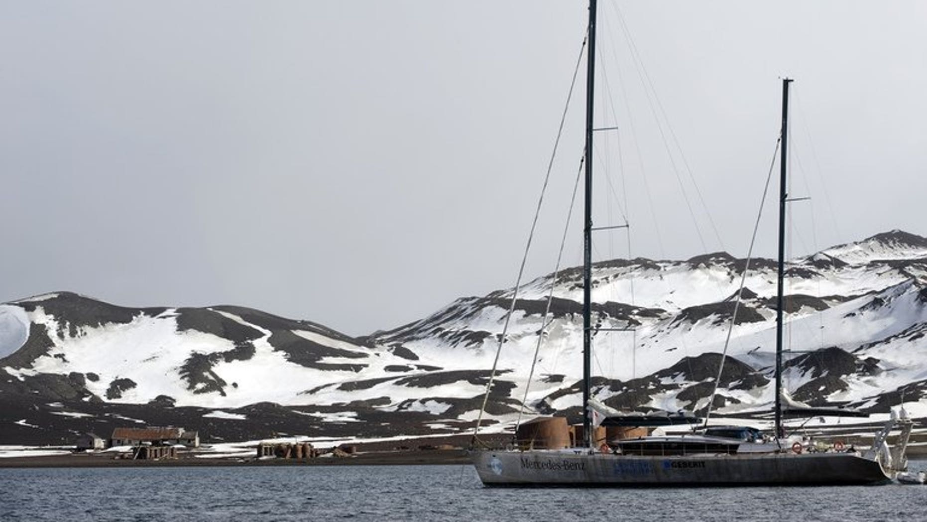 A sailing boat is anchored in the bay of Deception Island, Antarctica, on October 27, 2008. A powerful 7.3-magnitude earthquake struck off the coast of Antarctica on Monday, generating large waves but causing no injuries, seismic experts at Argentina's Orcadas base in Antarctica said.