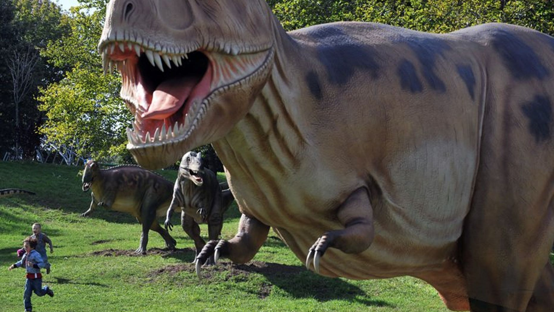 """Young visitors run past dinosaurs during an open-air exhibition in Kiev in September, 2010. One in four Australians believe humans co-existed with dinosaurs while one in three think it takes just one day for the Earth to orbit the sun, according to a """"worrying"""" survey published Wednesday."""
