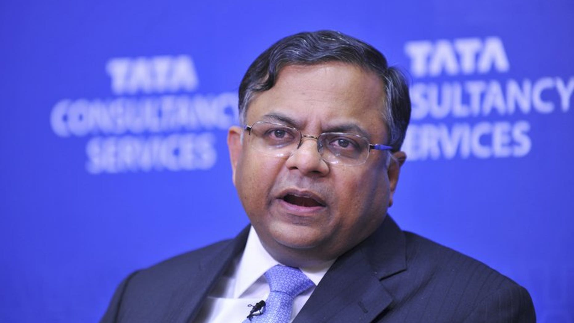 Tata Consultancy Services CEO N. Chandrasekaran at a press conference in Mumbai in 2011. TCS, India's biggest IT outsourcing firm, on Thursday reported a 16.8 percent jump in quarterly net profit, beating market forecasts.