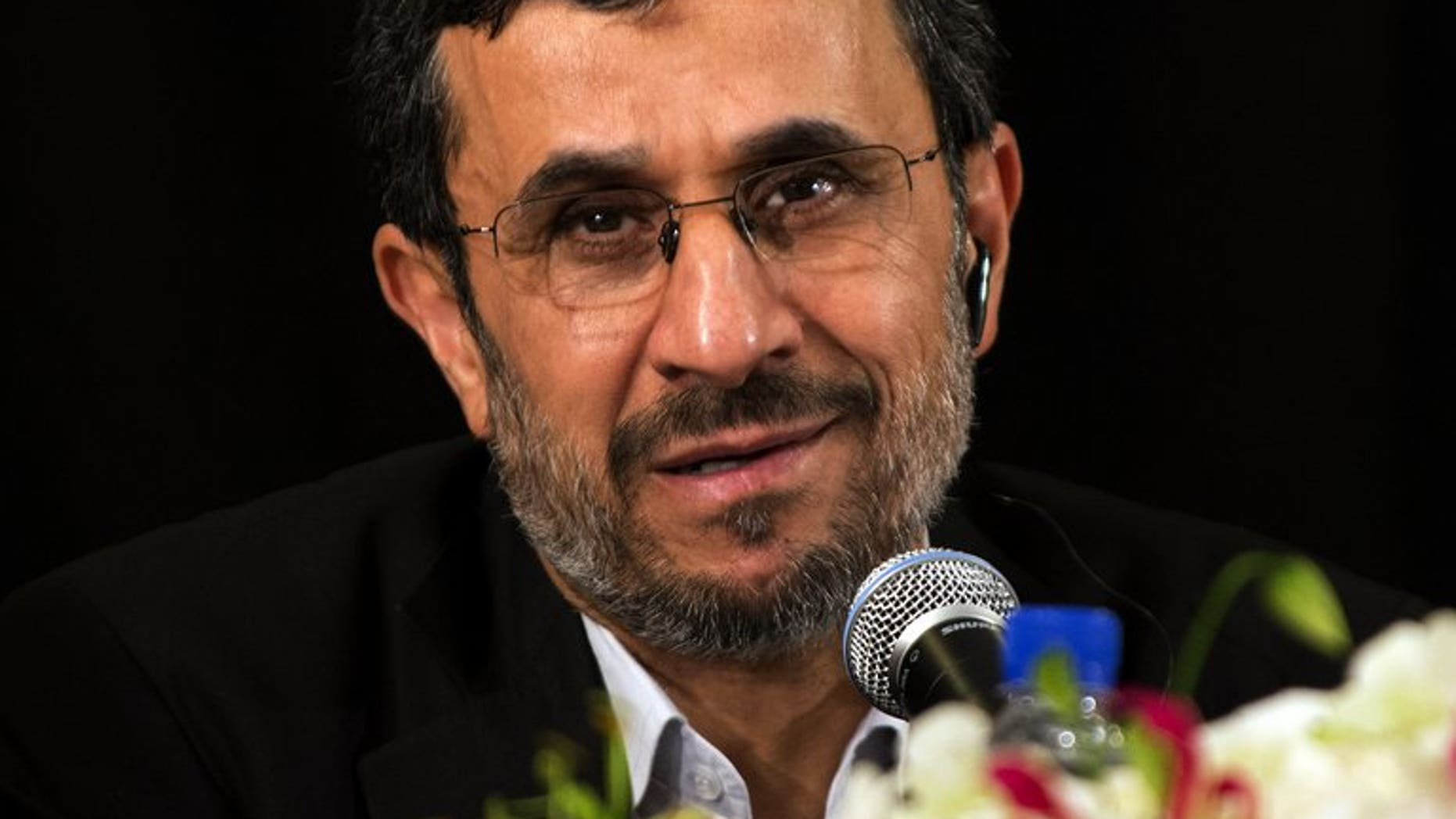 """Iran's President Mahmoud Ahmadinejad speaks at a news conference on September 26, 2012 in New York. Ahmadinejad said in Iraq on Thursday that Tehran and Baghdad have an """"exceptional"""" role to play in the region's security."""