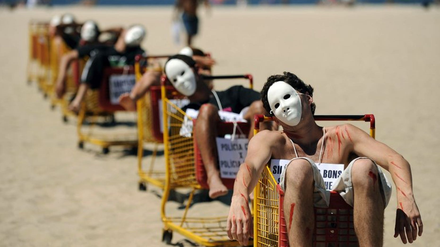 People demonstrate against violence at Copacabana beach in Rio de Janeiro on October 24, 2009. More than one million people were murdered in Brazil between 1980 and 2011, making it the world's seventh most violent country, a survey showed Thursday.