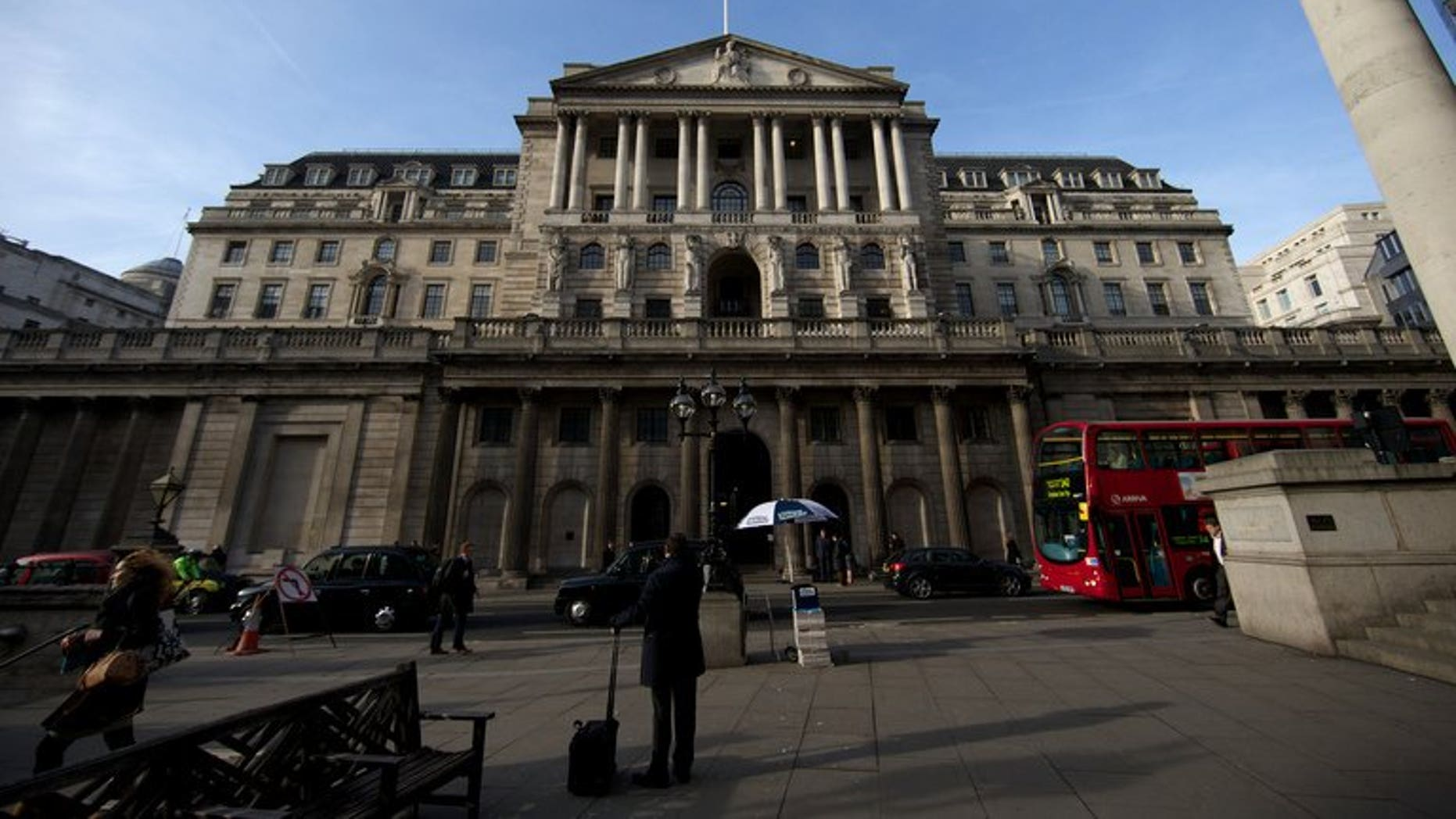 The Bank of England in central London, pictured on February 28, 2013. State borrowing fell last month, official data shows, boosted by profits from the Bank of England's bond-buying economic stimulus programme.