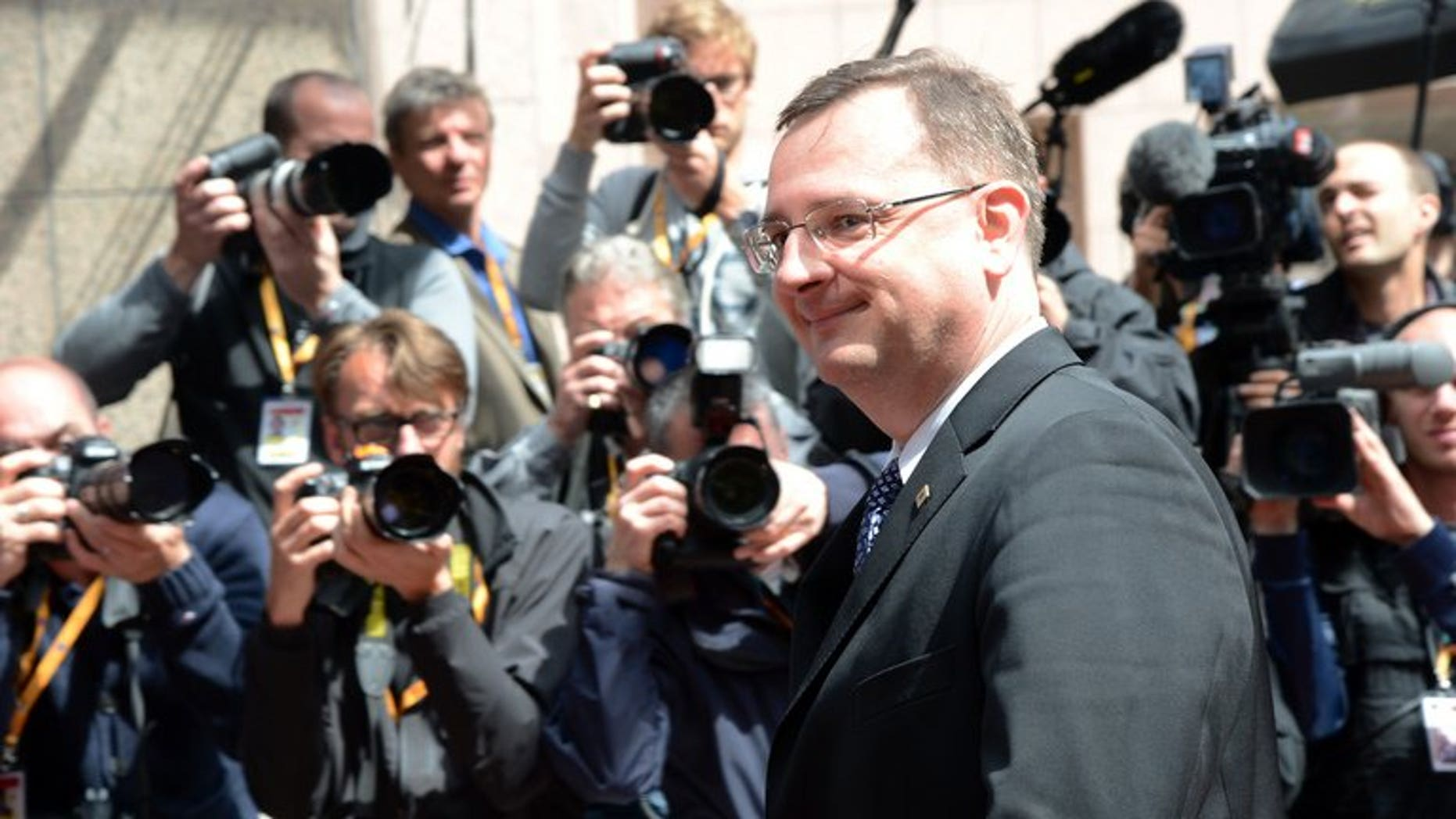 Former Czech Prime Minister Petr Necas arrives for a European Council meeting at the EU headquarters in Brussels on June 27, 2013. A Czech court on Friday freed Jana Nagyova, the lover and former top aide of toppled premier Petr Necas whose government fell after she was arrested in a bribery and spy scandal.