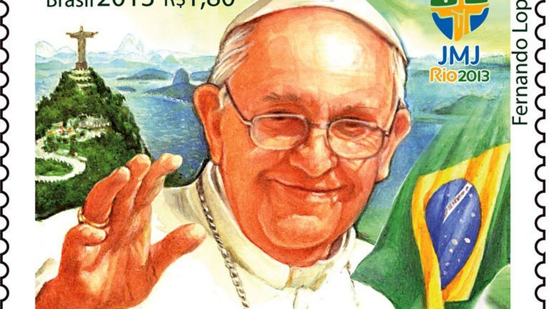 This handout photo shows a stamp commemorating Pope Francis' visit to Rio de Janeiro, Brazil. The stamp will begin circulating Tuesday after the inaugural mass of World Youth Day on Rio's famed Copacabana beach, the post office said.