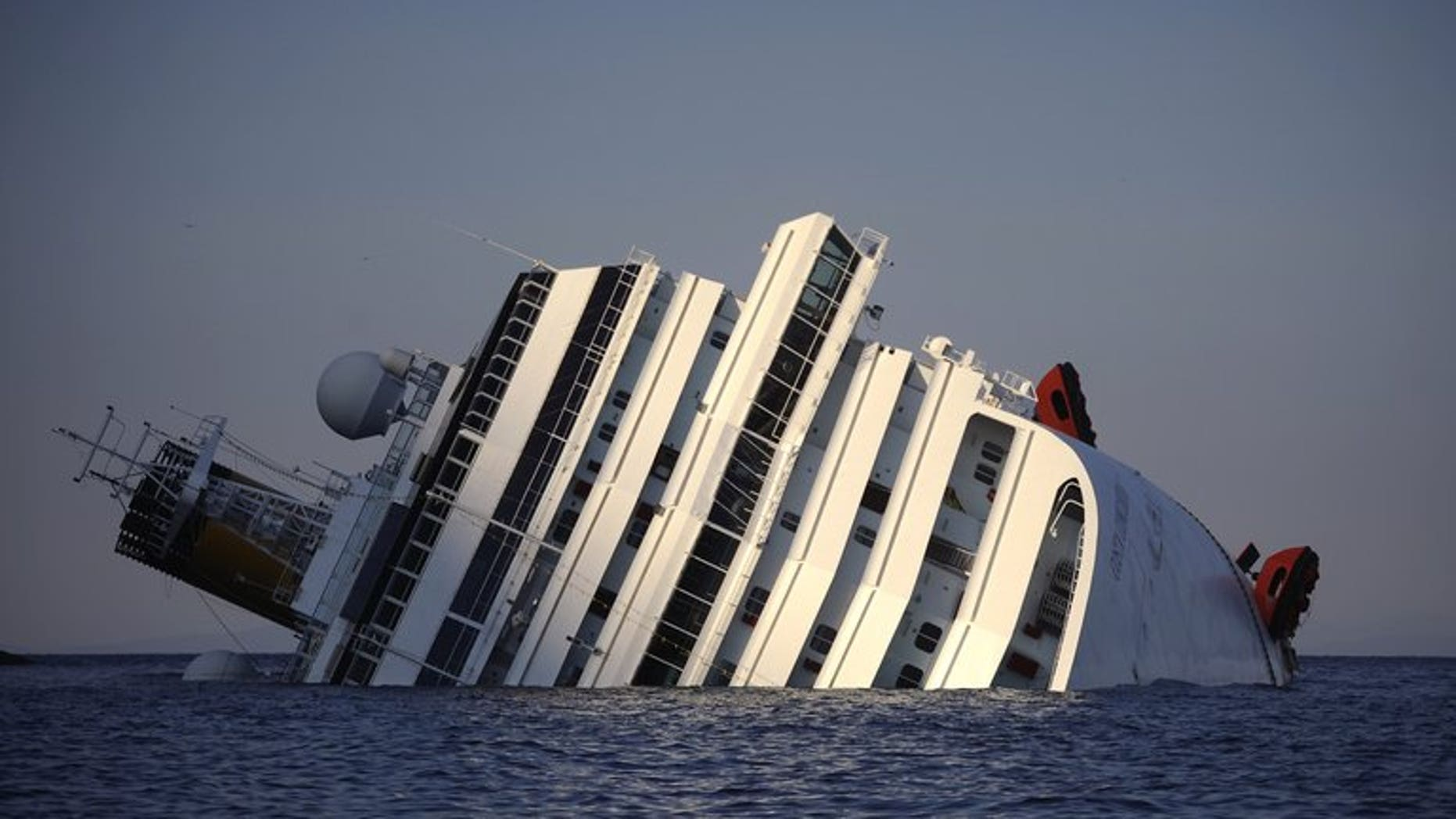View of the Costa Concordia taken on January 14, 2012, after the cruise ship ran aground off Giglio island