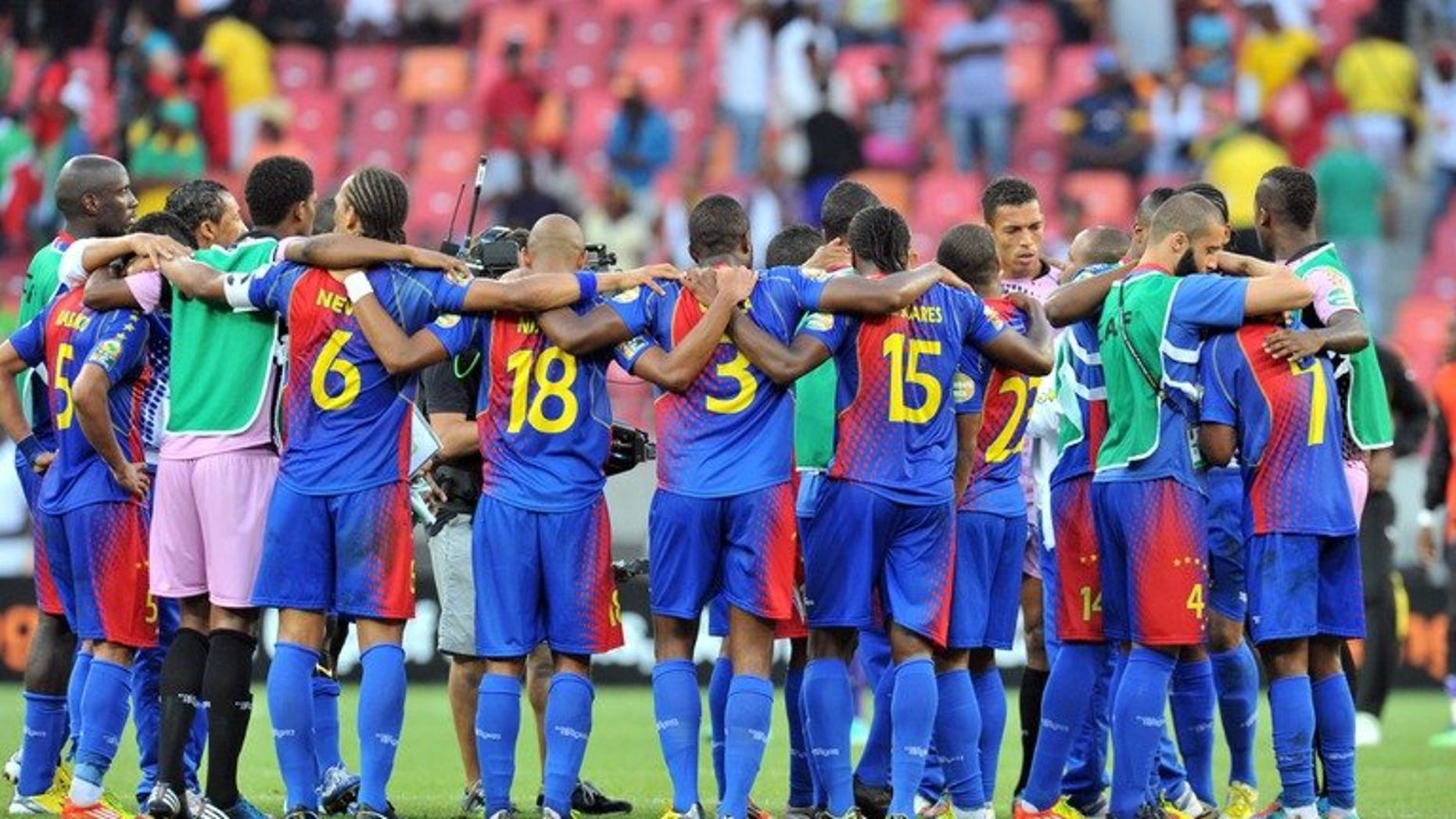 Cape Verde's football players are pictured at the end of the African Cup of Nation quarter final on February 2, 2013 in Port Elizabeth. Cape Verde are back in the race for a 2014 World Cup place after FIFA punished Equatorial Guinea for twice using an ineligible player against them.