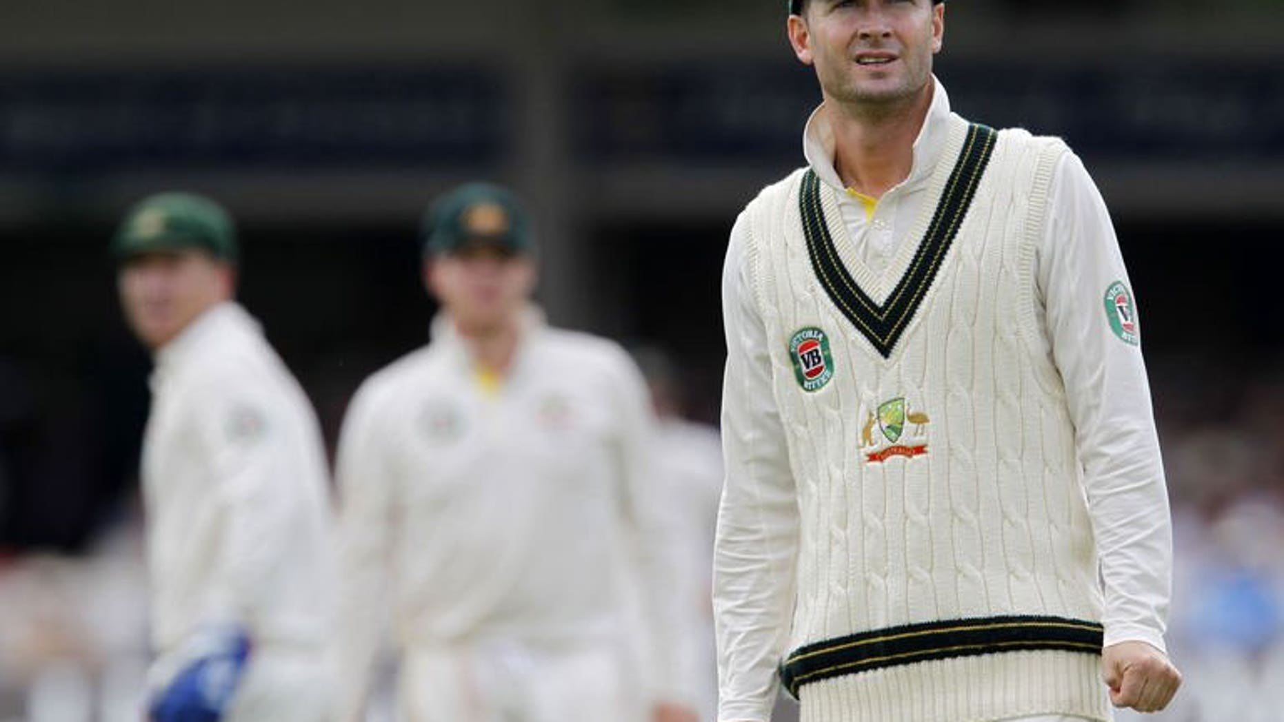 Australia's captain Michael Clarke reacts to another England boundary at Lord's cricket ground in north London, on July 20, 2013. Clarke vowed to have the last laugh on all those who mocked his suggestion Australia could still win the Ashes after a crushing defeat at Lord's left them 2-0 down in the five-match series.