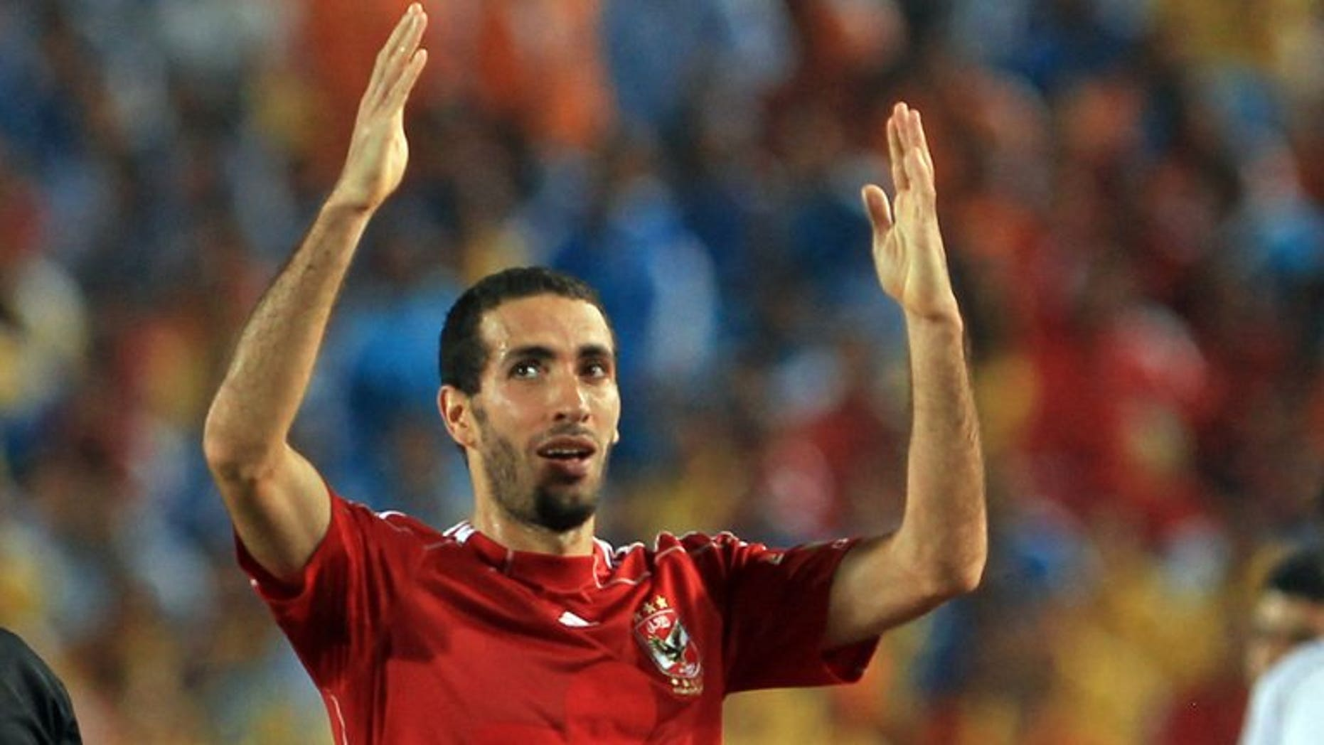 Egyptian player Mohammed Abou Trika of al-Ahly after scoring the winning goal against Haras al-Hodud club during their Super Cup match in Cairo July 25, 2010. Star midfielders Mohamed Abou Trika of Al-Ahly and Mahmoud Abdel Razak of Zamalek return Wednesday for a potentially explosive CAF Champions League Egyptian derby.