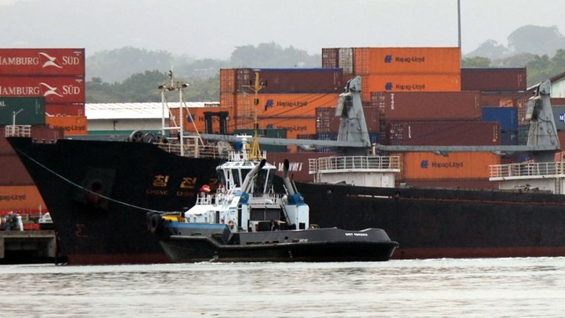 Partial view of North Korean vessel Chong Chon Gang at Manzanillo harbour in Colon, 90 km from Panama City on July 16, 2013. A delegation from the Panamanian Red Cross Tuesday visited the 35 crew members from a North Korea ship being held for carrying undeclared Cuban weapons.