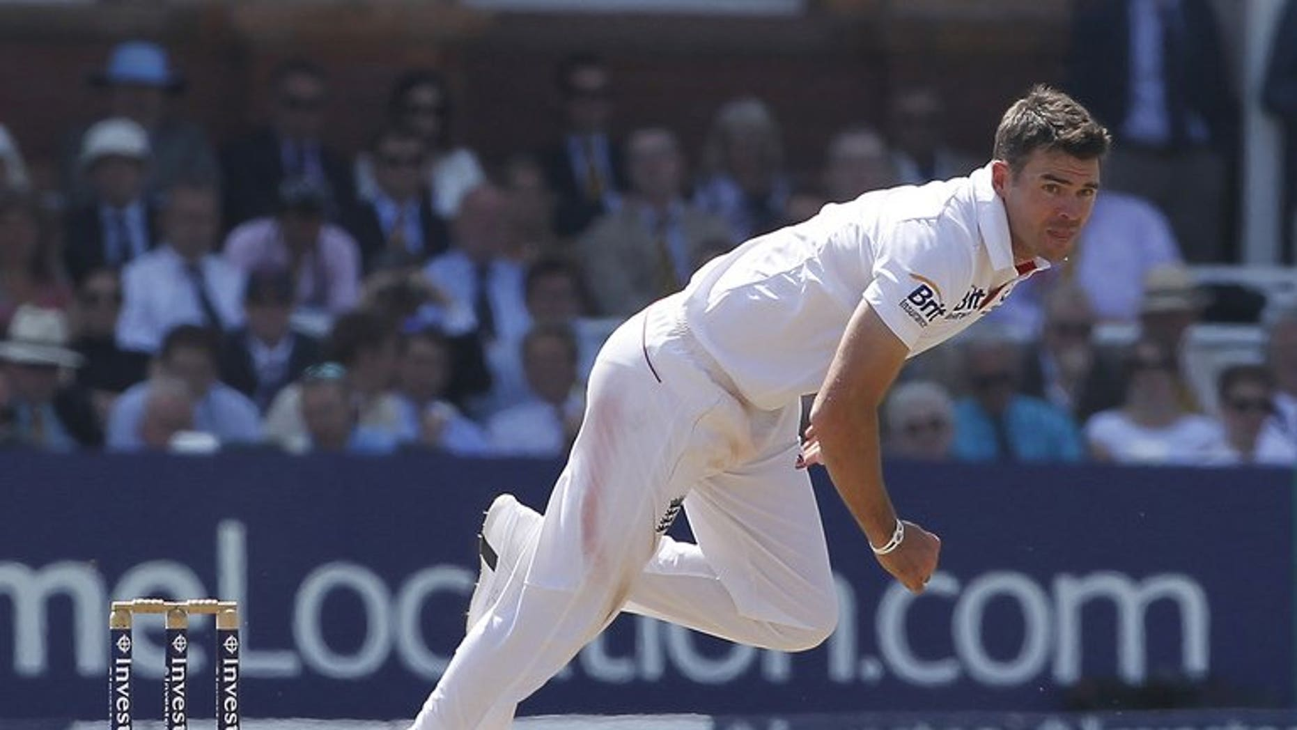 England's James Anderson bowls at Lord's cricket ground in north London, on July 21, 2013. Anderson said Tuesday the team were optimistic Kevin Pietersen would be fit for next week's third Ashes Test at Old Trafford.