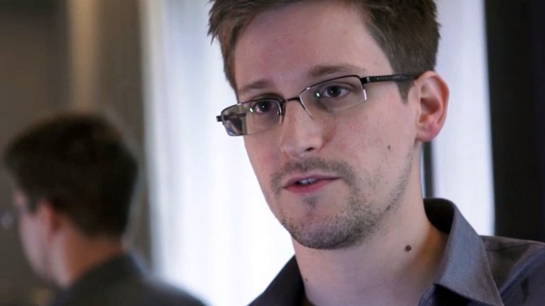 A video image shows Edward Snowden in an interview with The Guardian, on June 6, 2013. Russia's migration service has provided Snowden with a document that allows him to leave the Moscow airport transit zone where he has been holed up for the last month, according to the RIA Novosti news agency.