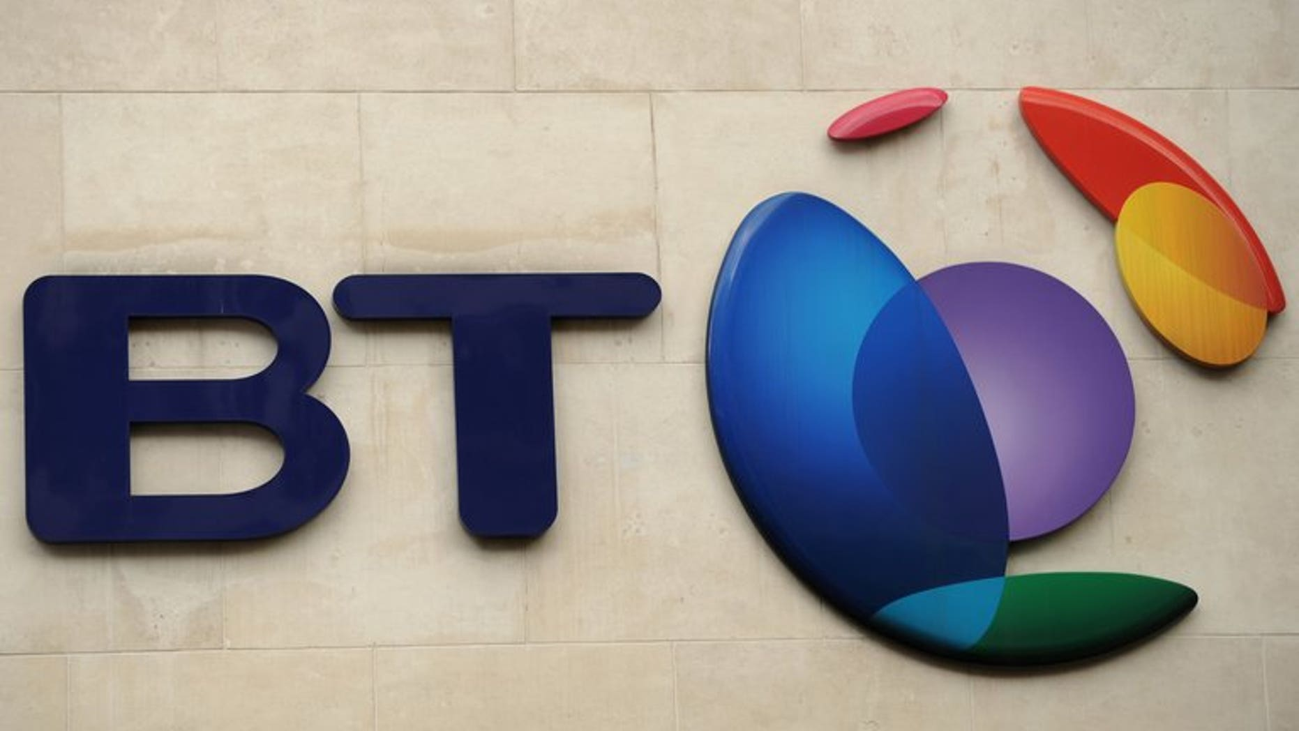 The British Telecom logo is pictured in London, on May 13, 2010. BT, which recently entered the market for the broadcasting of live television sport, has announced a drop in quarterly profits.