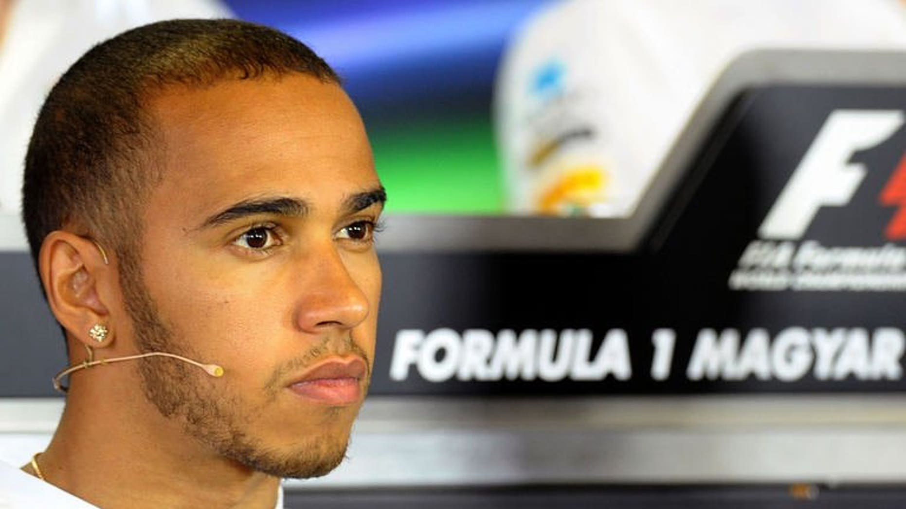 Mercedes' British driver Lewis Hamilton attends a press conference at the Hungaroring circuit in Budapest on July 25, 2013 on the eve of the first free practice session of the Hungarian Formula One Grand Prix.