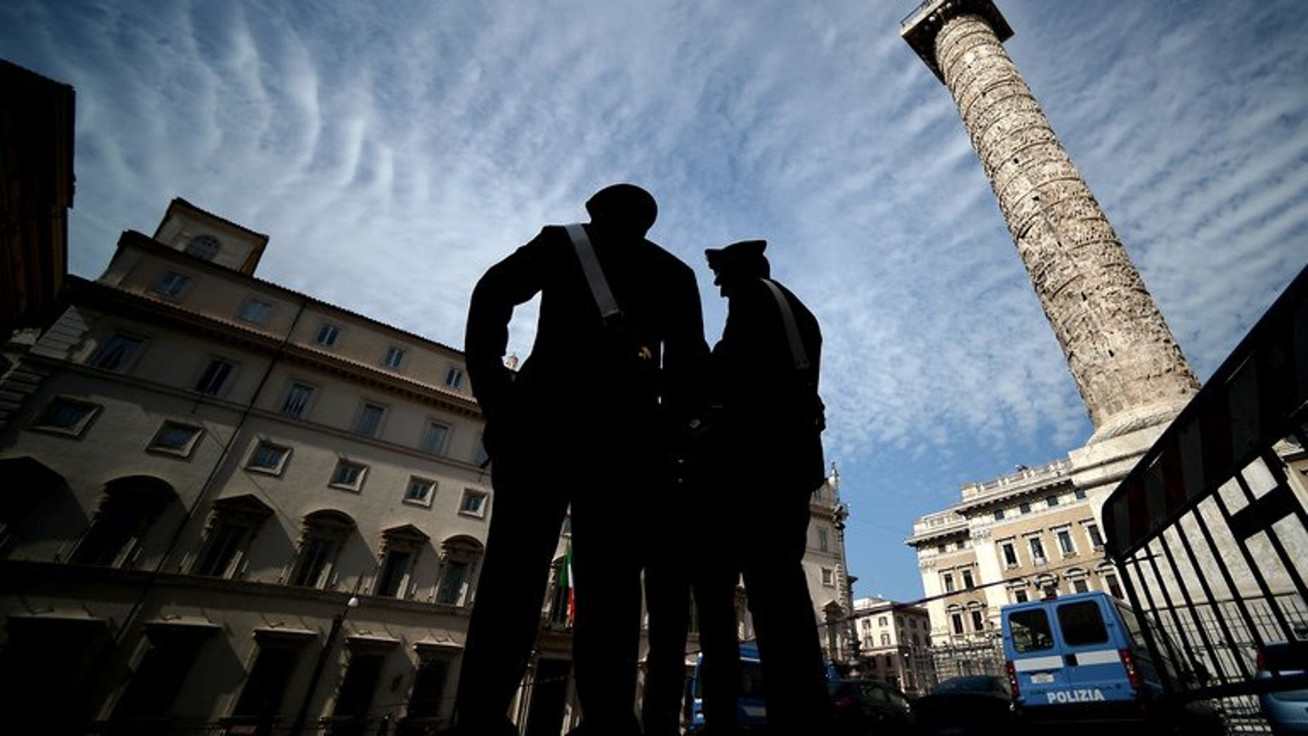 File picture shows a police patrol in Rome. Italian police said they launched two major anti-mafia operations Friday in Rome and the southern region of Calabria, targeting around 100 people