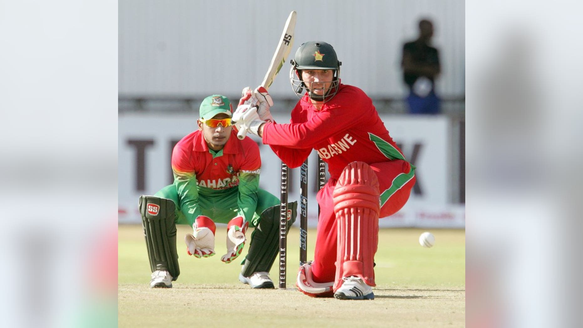 Brendan Taylor bats against Bangladesh in Bulawayo on May 12. Zimbabwe's hopes of causing an upset against the world's best one-day side were given a boost when captain Taylor won a crucial toss and stuck India in to bat in the second one-day international.