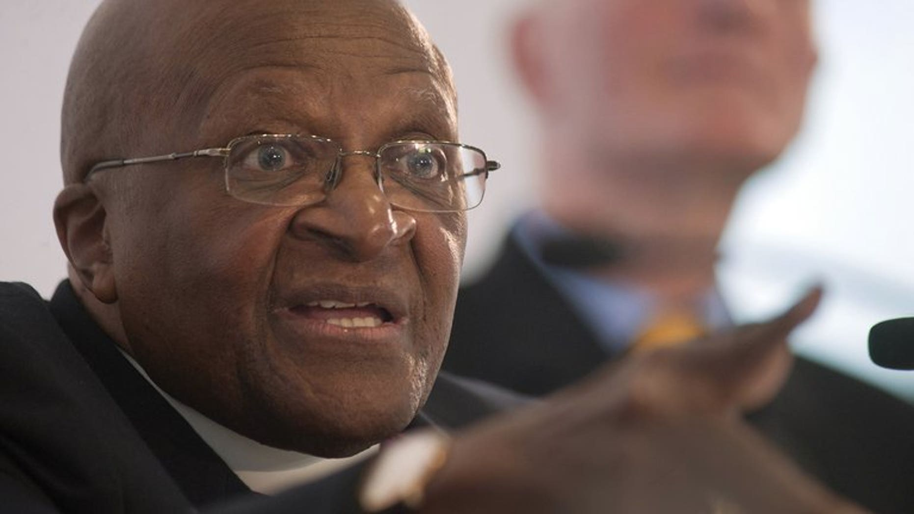 Archbishop Emeritus and Nobel Peace Laureate Desmond Tutu speaks at the launch of Free and Equal, a UN campaign for lesbian, gay, bisexual and transgender (LGBT) equality, on July 26, 2013 in Cape Town.