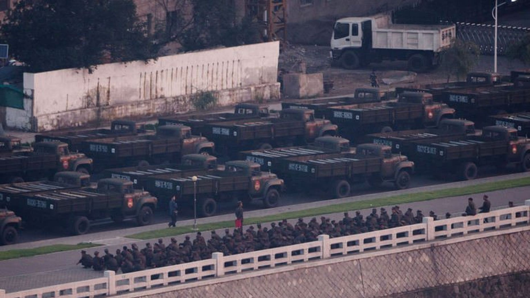 North Korean army vehicles line up during preparations for a militay parade in Pyongyang, early morning on July 27, 2013. N.Korea is staging a major military parade to mark the 60th anniversary of the Korean War ceasefire.