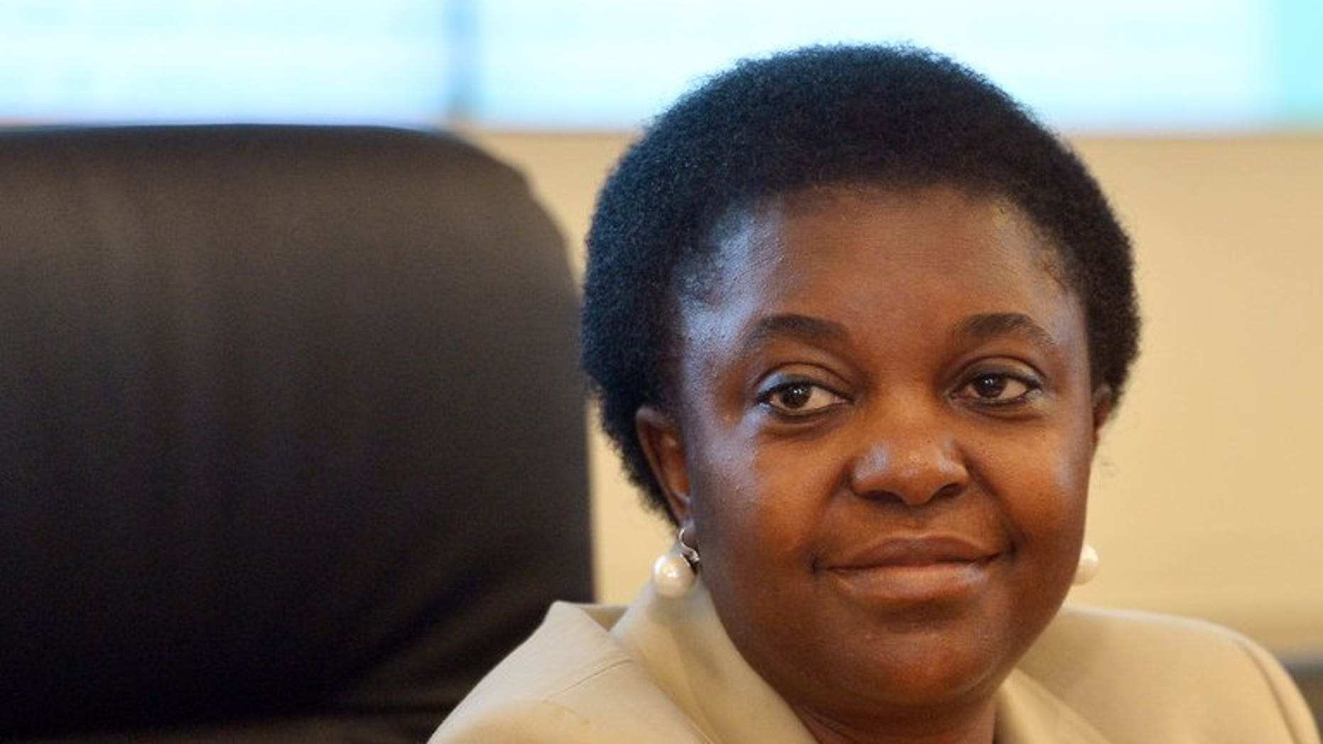 The latest racist attack against Italy's first black minister Cecile Kyenge, pictured July 16, 2013, in which a banana was hurled at her during a rally, sparked outrage across the political spectrum.