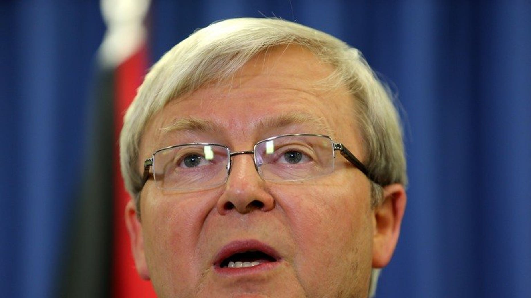 Australian Prime Minister Kevin Rudd, pictured in Brisbane, on July 19, 2013. Rudd on Saturday made a surprise visit to troops serving in Afghanistan, telling them that it was time they came home.