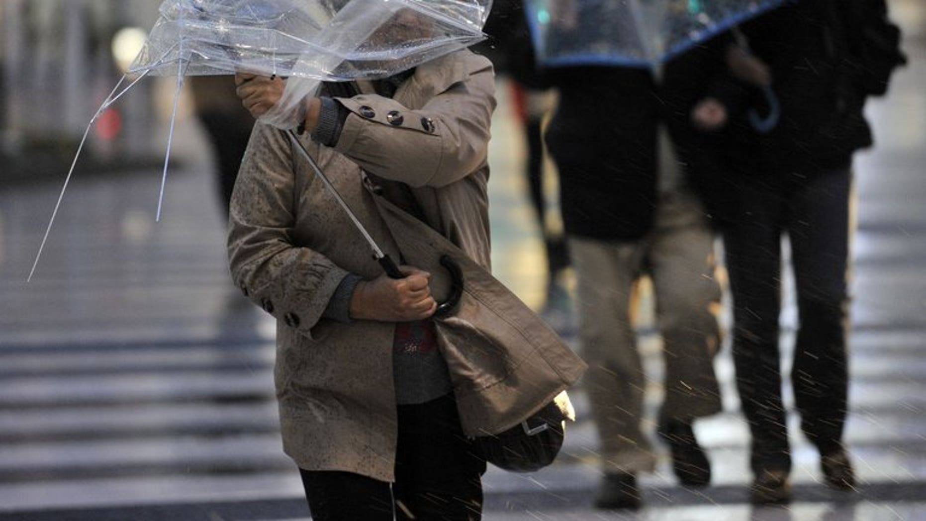This file photo shows pedestrians struggling amid strong wind in Tokyo, on April 3, 2012. Heavy rains lashed Japan over the weekend, leaving one person dead and two missing, the government said on Monday as it issued a severe storm warning.