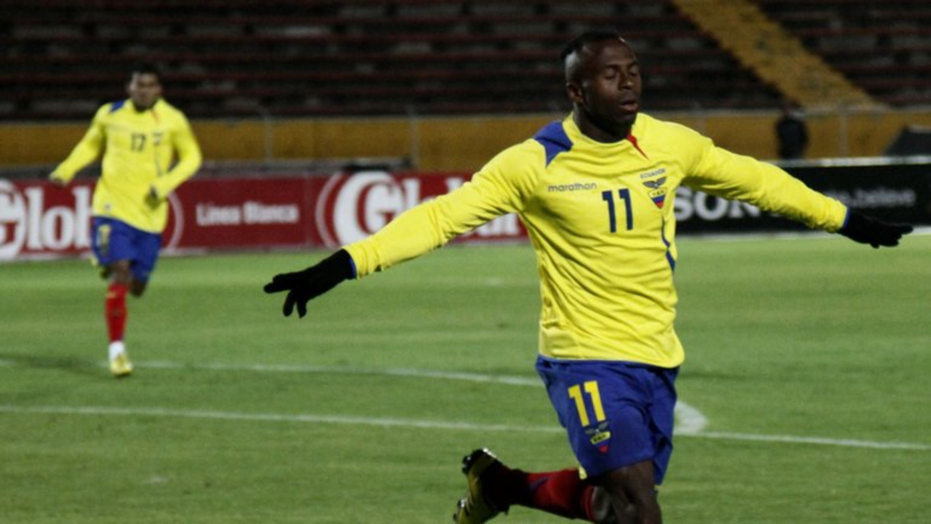 Ecuadorean player Christian Benitez celebrates after scoring against Venezuela in Quito on November 17, 2010. Benitez has died suddenly in Qatar at the age of 27, his agent Jose Chamorro said.