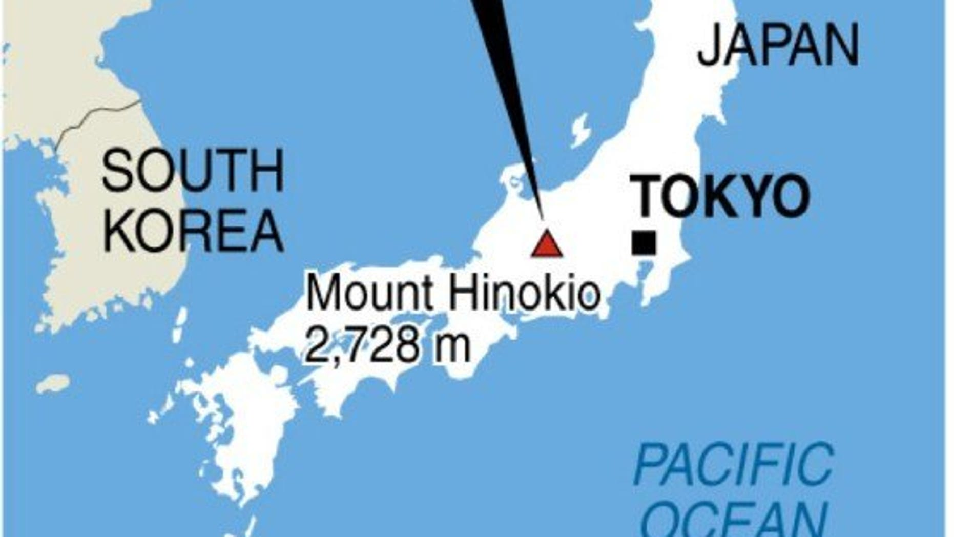 Graphic map showing Japan's Mount Hinokio, where three South Korean climbers have been found dead.