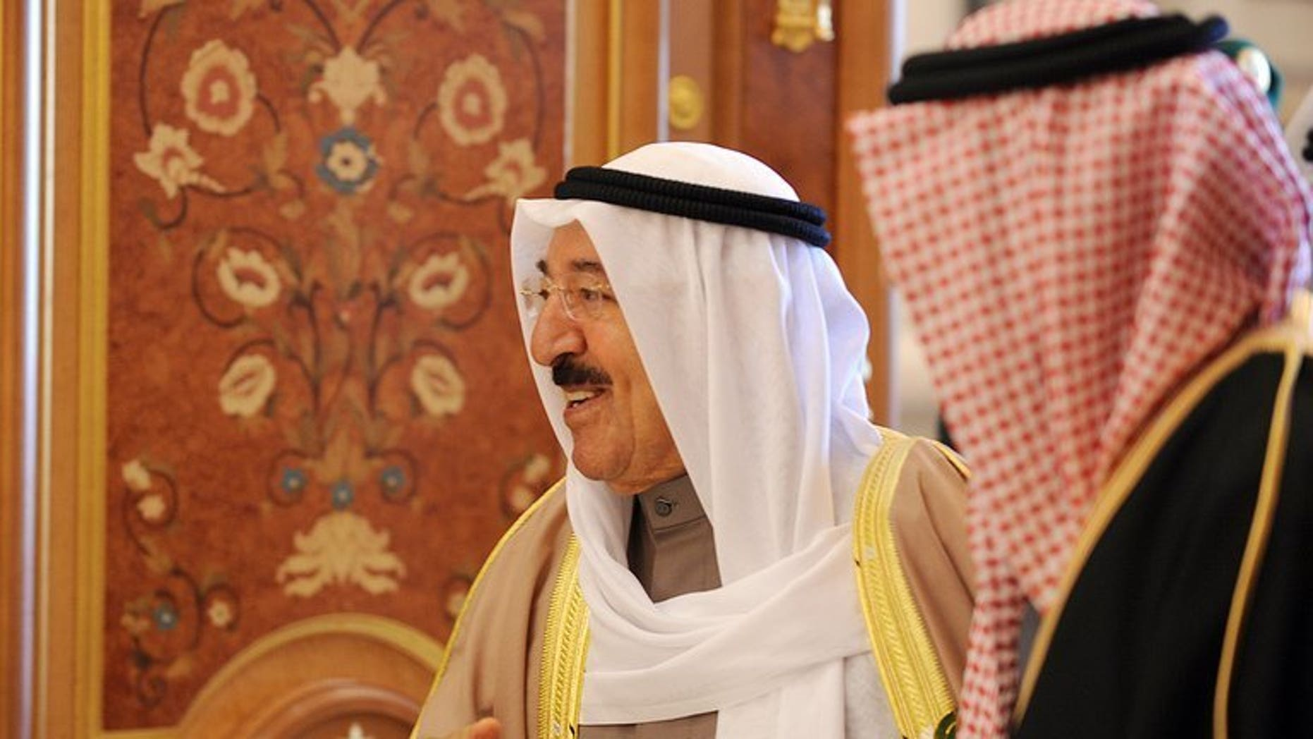 The Emir of Kuwait Sheikh Sabah Al-Ahmad Al-Jaber Al-Sabah at a summit on January 22, 2013 in Riyadh. He pardoned on Tuesday all those who have been sentenced to jail for insulting him.