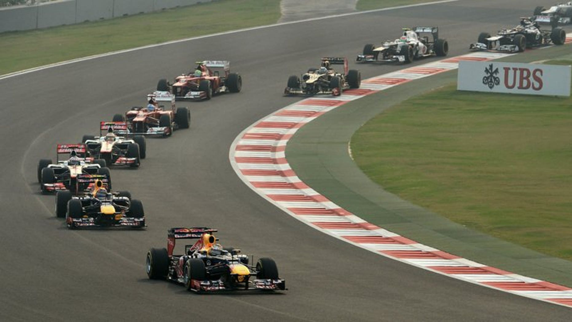 Drivers take part in the Formula One Indian Grand Prix, in New Delhi on October 28, 2012. The Indian Grand Prix has been cancelled for next year but is expected to return in 2015, an official said on Wednesday.