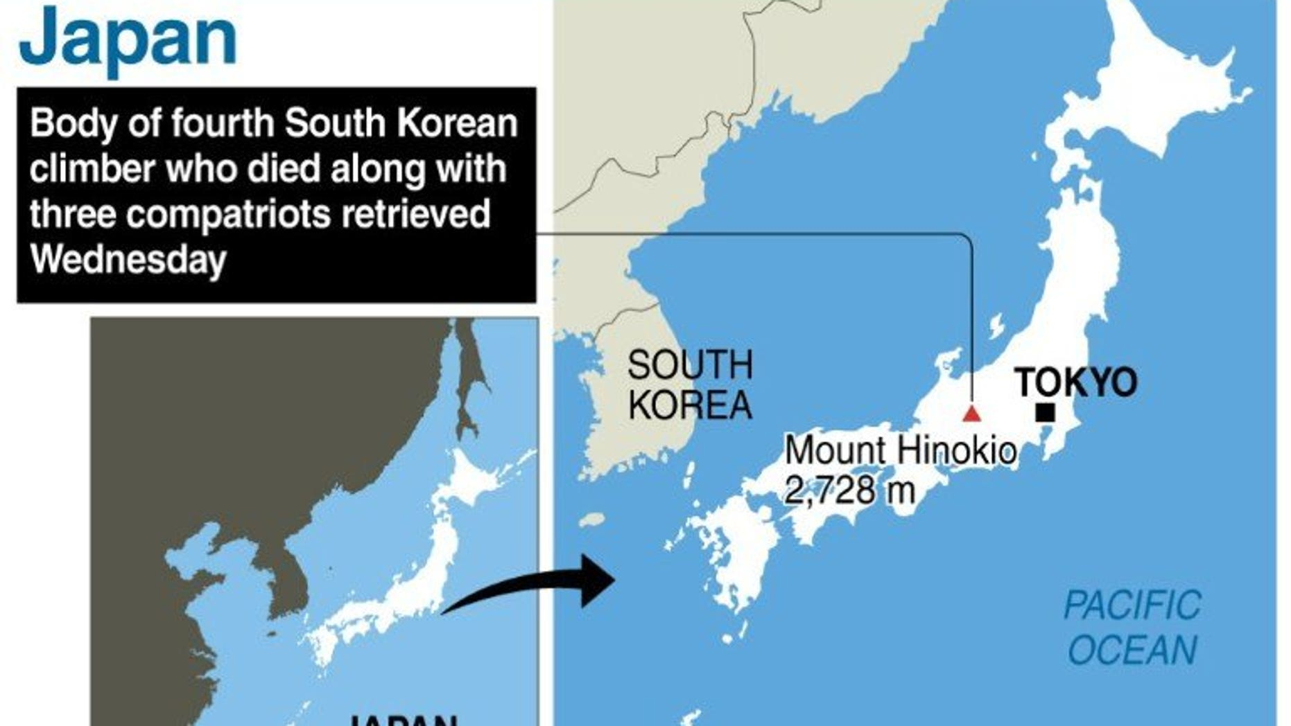 Graphic showing Japan's Mount Hinokio, where the body of a fourth South Korean climber who died along with three compatriots has been retrieved, Japanese police said Wednesday.