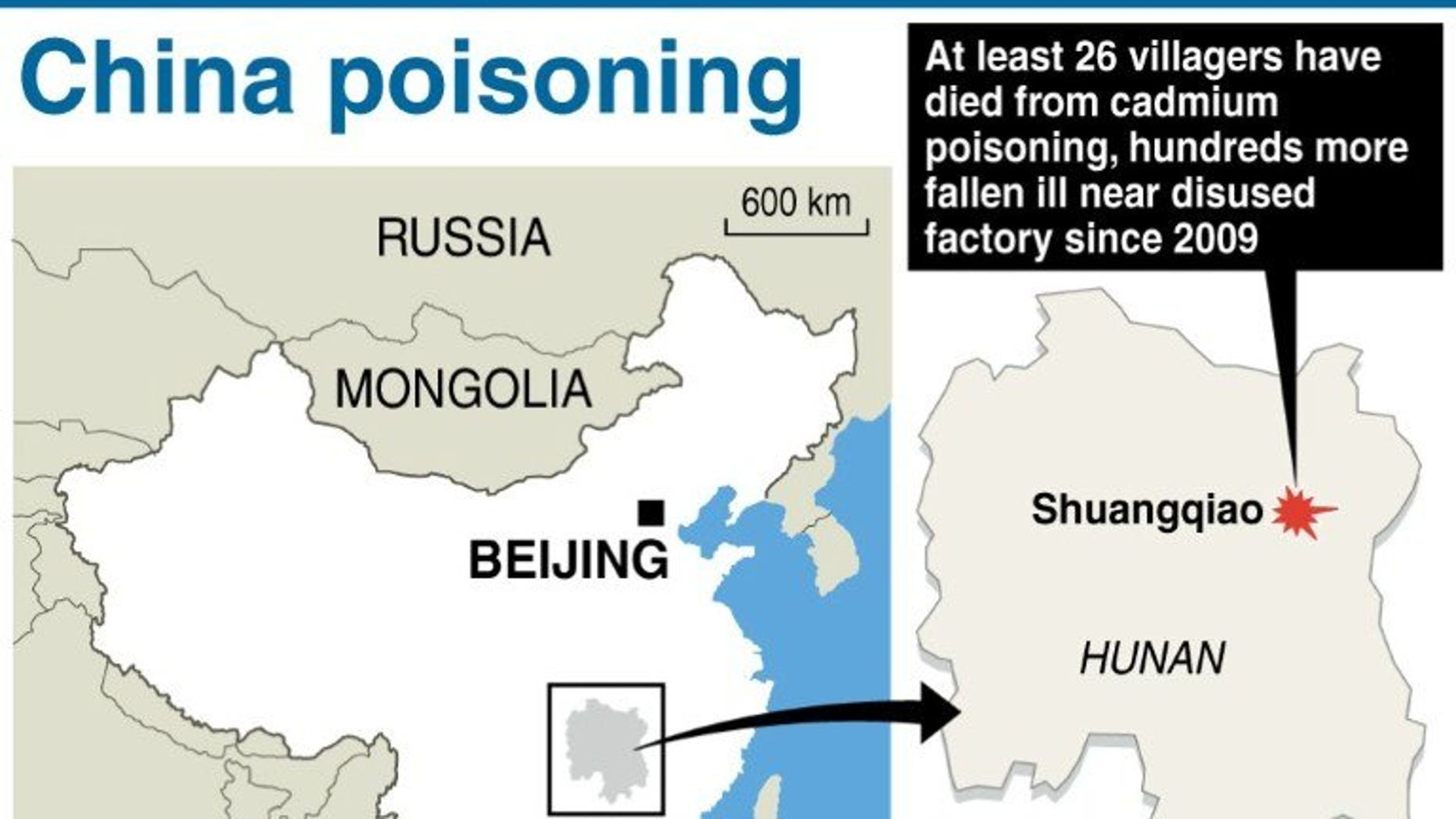 Graphic showing Shuangqiao in Hunan province, where at least 26 villagers have died from cadmium poisoning and hundreds fallen ill since 2009.
