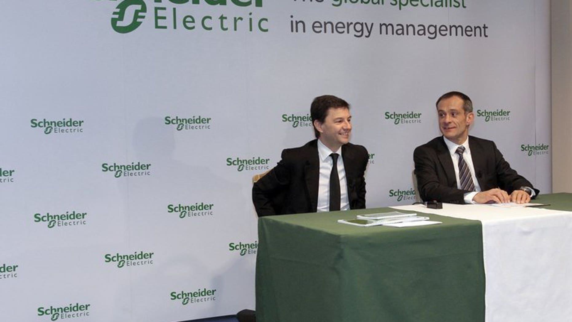 Schneider CEO Jean-Pascal Tricoire (right) and finance director Emmanuel Babeau in Paris in February 2010. French electrical engineering and equipment group Schneider is to make an agreed bid worth ??3.4 billion for British engineering firm Invensys, the two firms said on Wednesday.