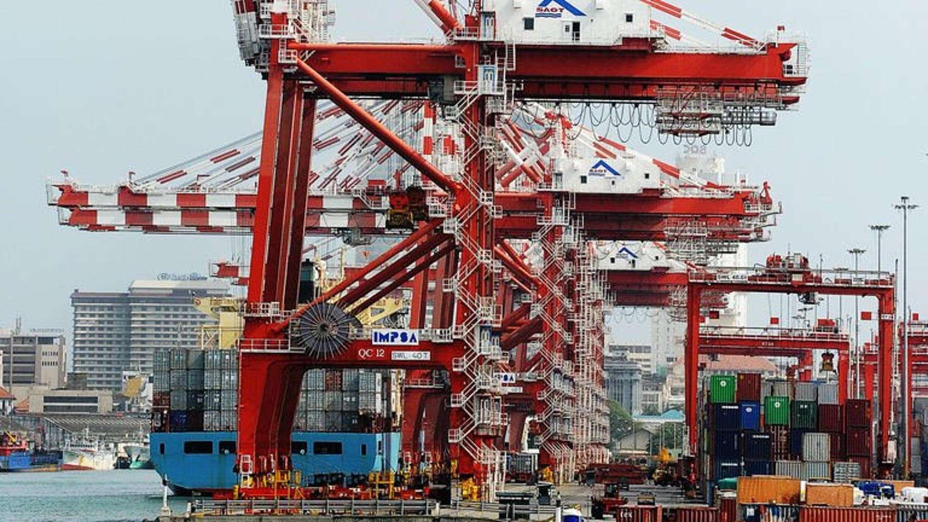 This photograph taken on July 24, 2013, shows a container ship at the state-run Jaya Container Terminal of the port of Colombo. A $500 million Chinese-built port opens Monday in Sri Lanka, giving Beijing a vital foothold on the world's busiest international shipping lane as it seeks to secure maritime supply routes.