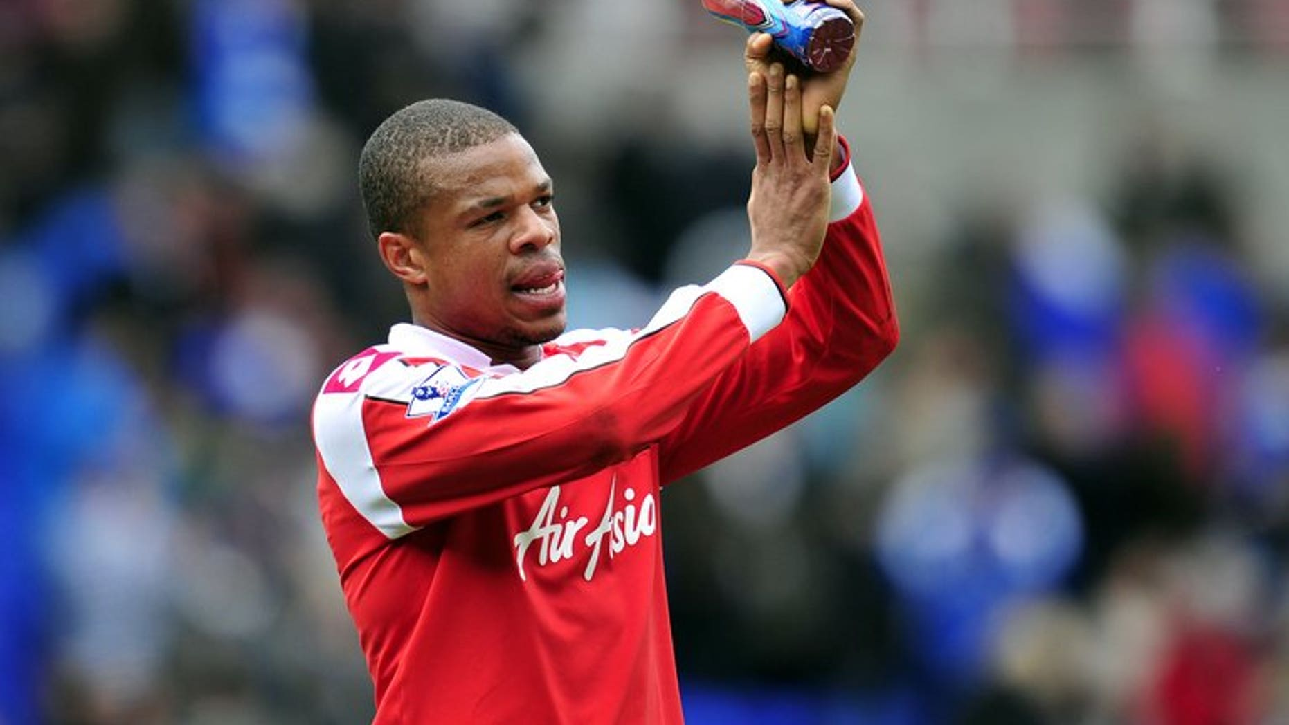 Queens Park Rangers' French striker Loic Remy thanks the fans at the Madejski Stadium in Reading on April 28, 2013. Newcastle finally made their first significant signing since the end of last season as Remy joined the Premier League club on a season-long loan from QPR.