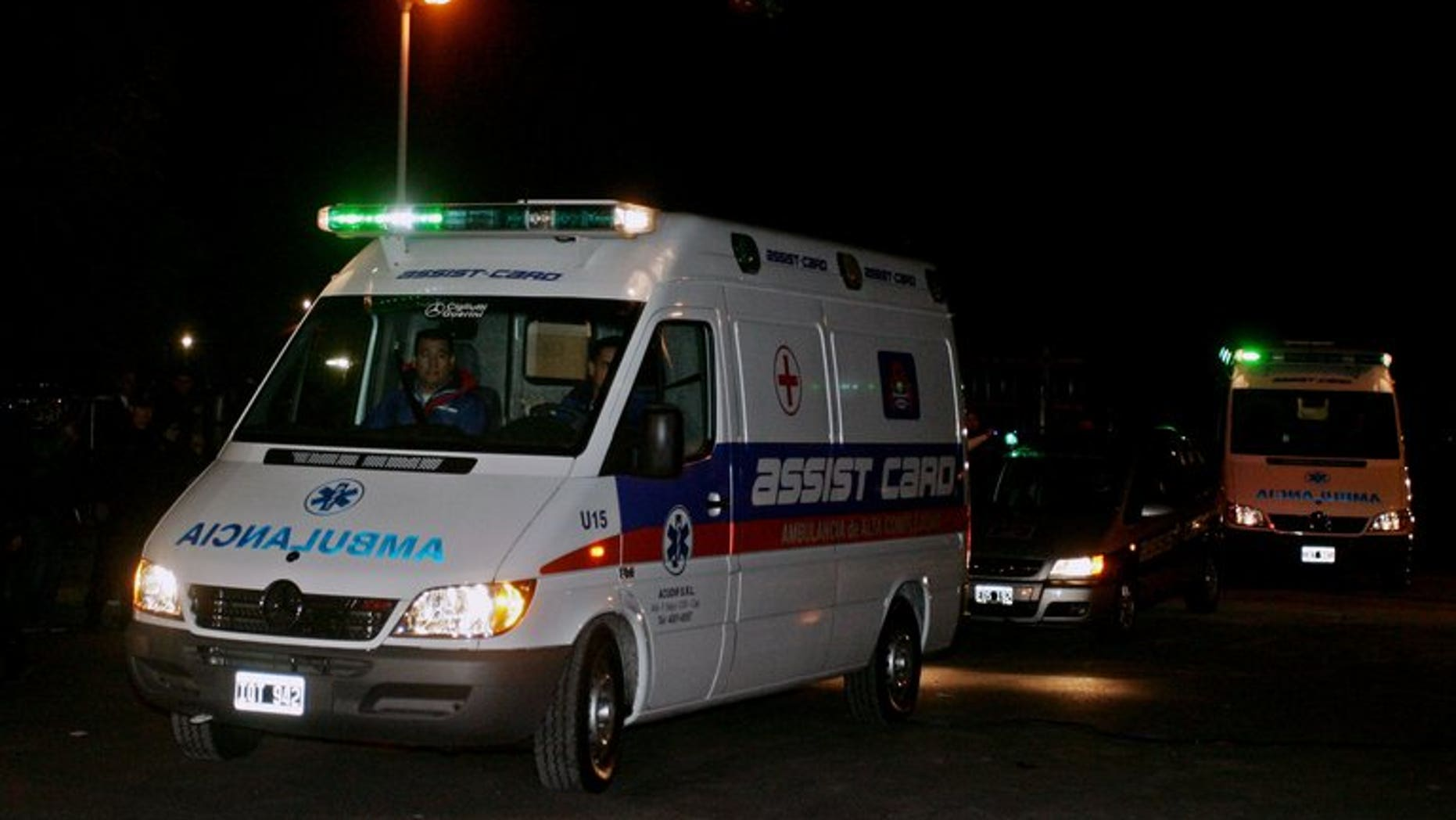 An ambulance is seen in Buenos Aires, Argentina on June 7, 2010. A powerful blast ripped through a ten-story building in Argentina's third largest city Tuesday, setting it ablaze and leaving at least one dead and 15 injured.