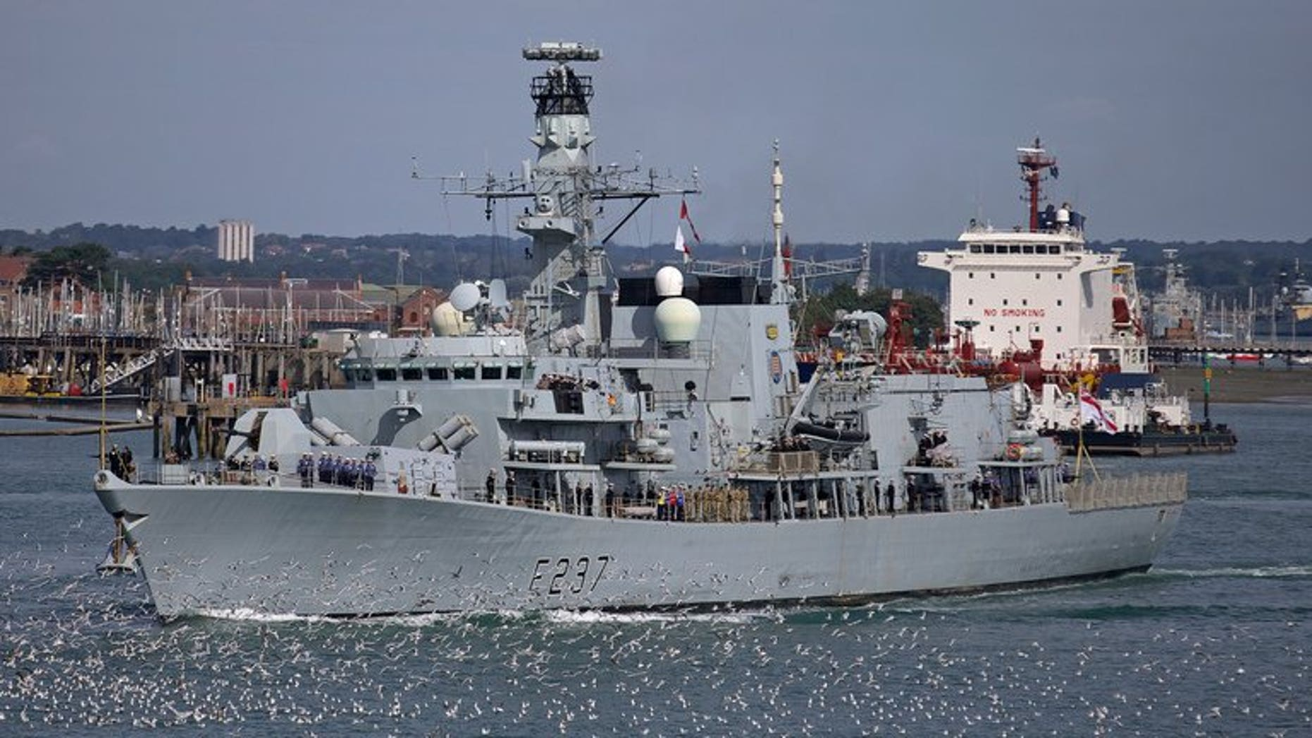 Britain's HMS Westminster leaves for Gibraltar from Portsmouth on August 13, 2013. The British warship HMS Westminster set sail on a training exercise that will include a stop at Gibraltar, the territory at the centre of a row between Britain and Spain.